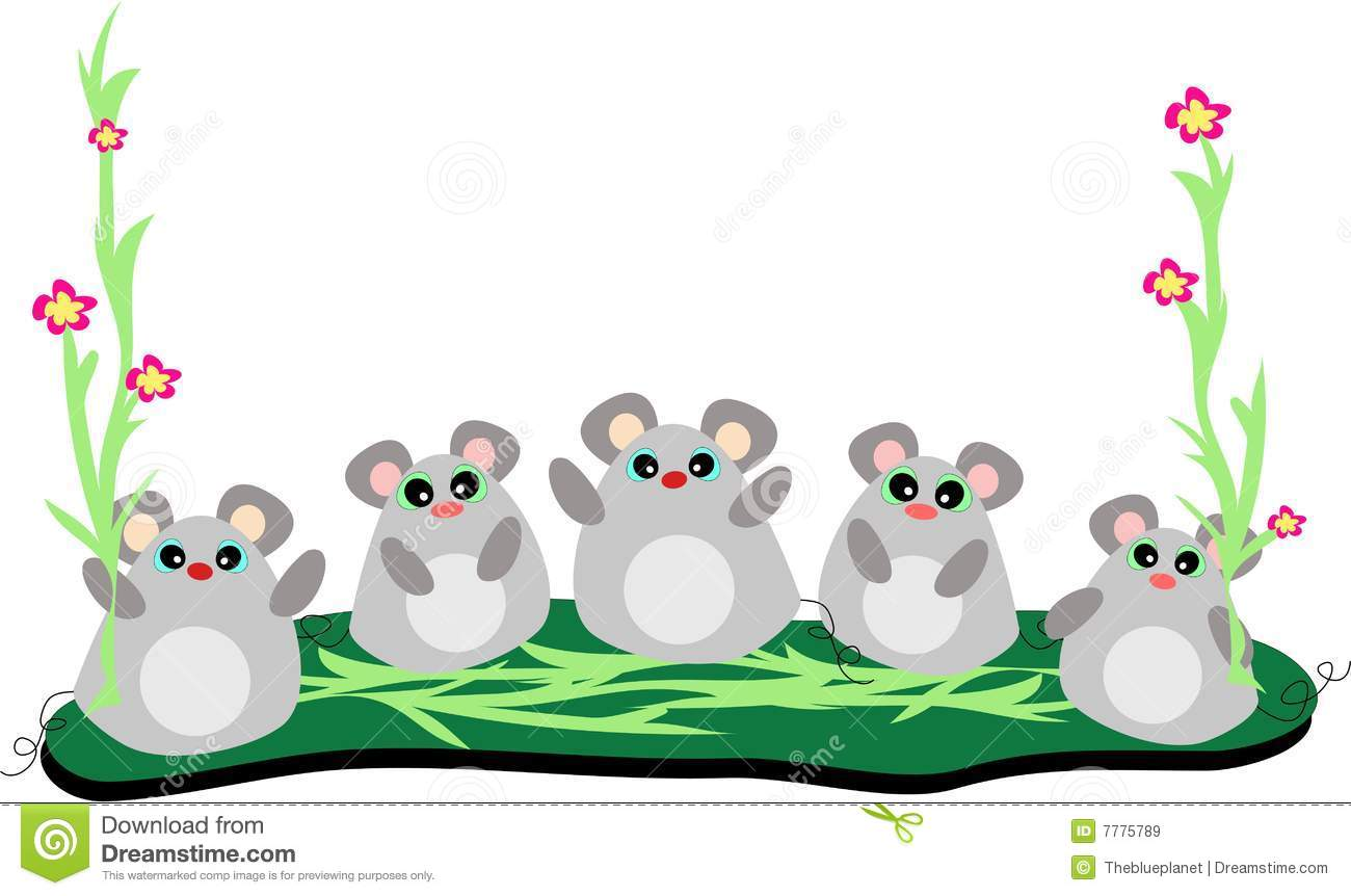 Five Mice In A Row With Stalks Of Flowers Stock Vector