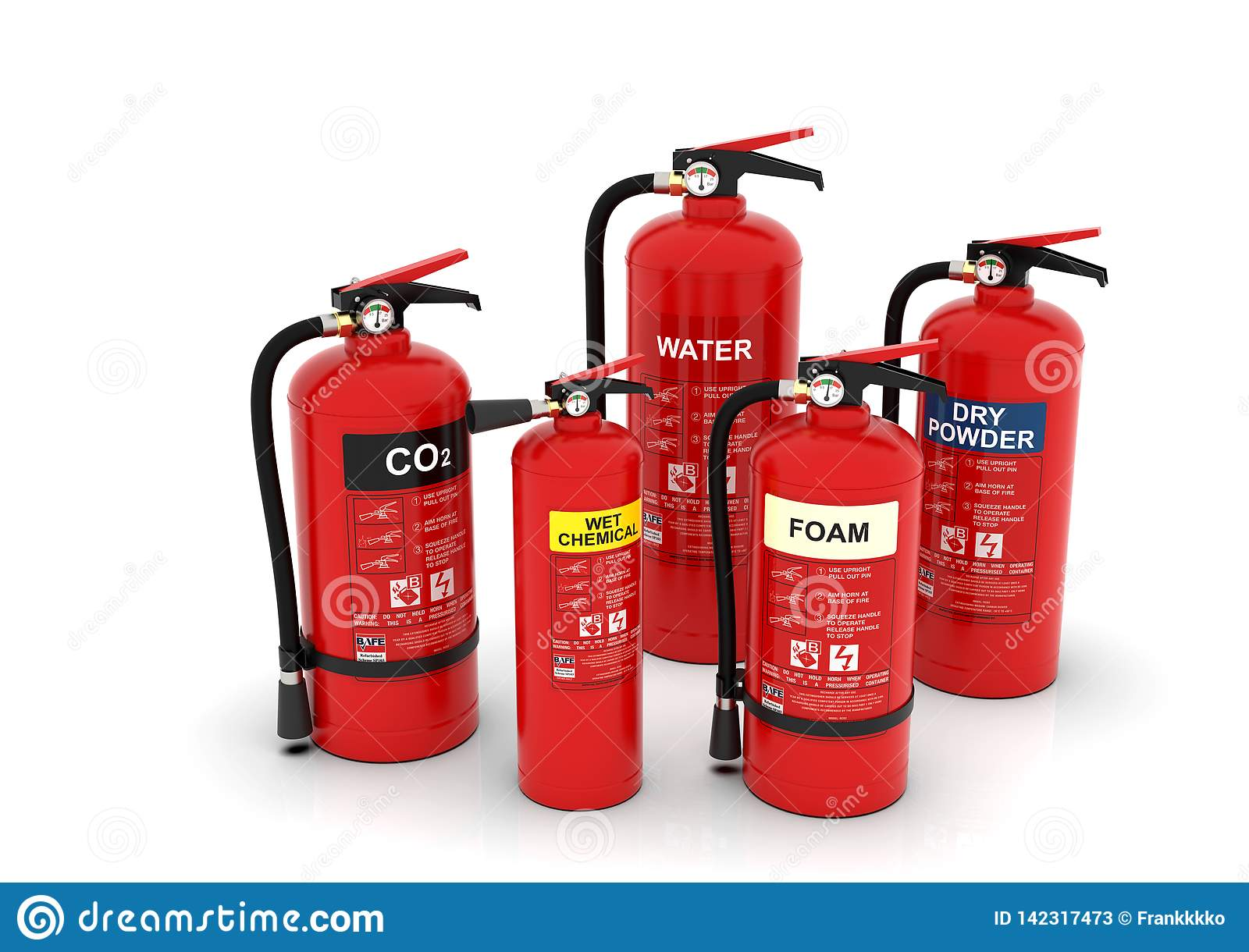 Fire Extinguishers Group, Various Types Stock Image - Image