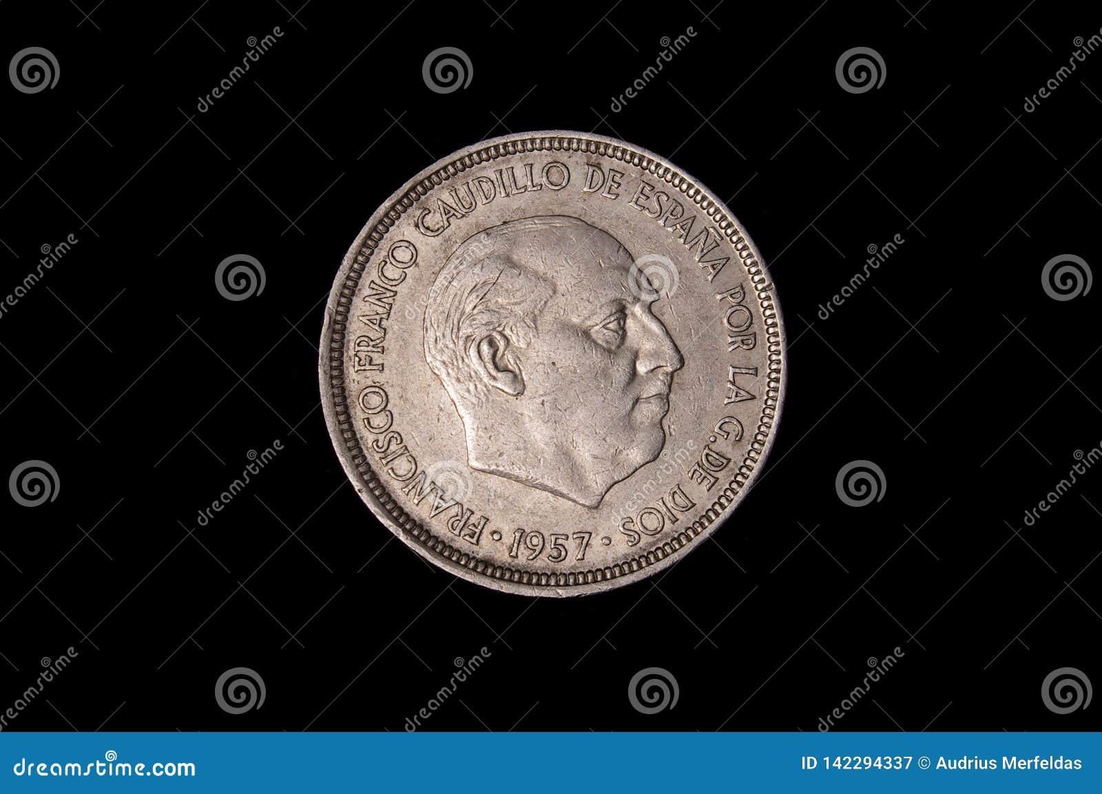 Five pesetas coin