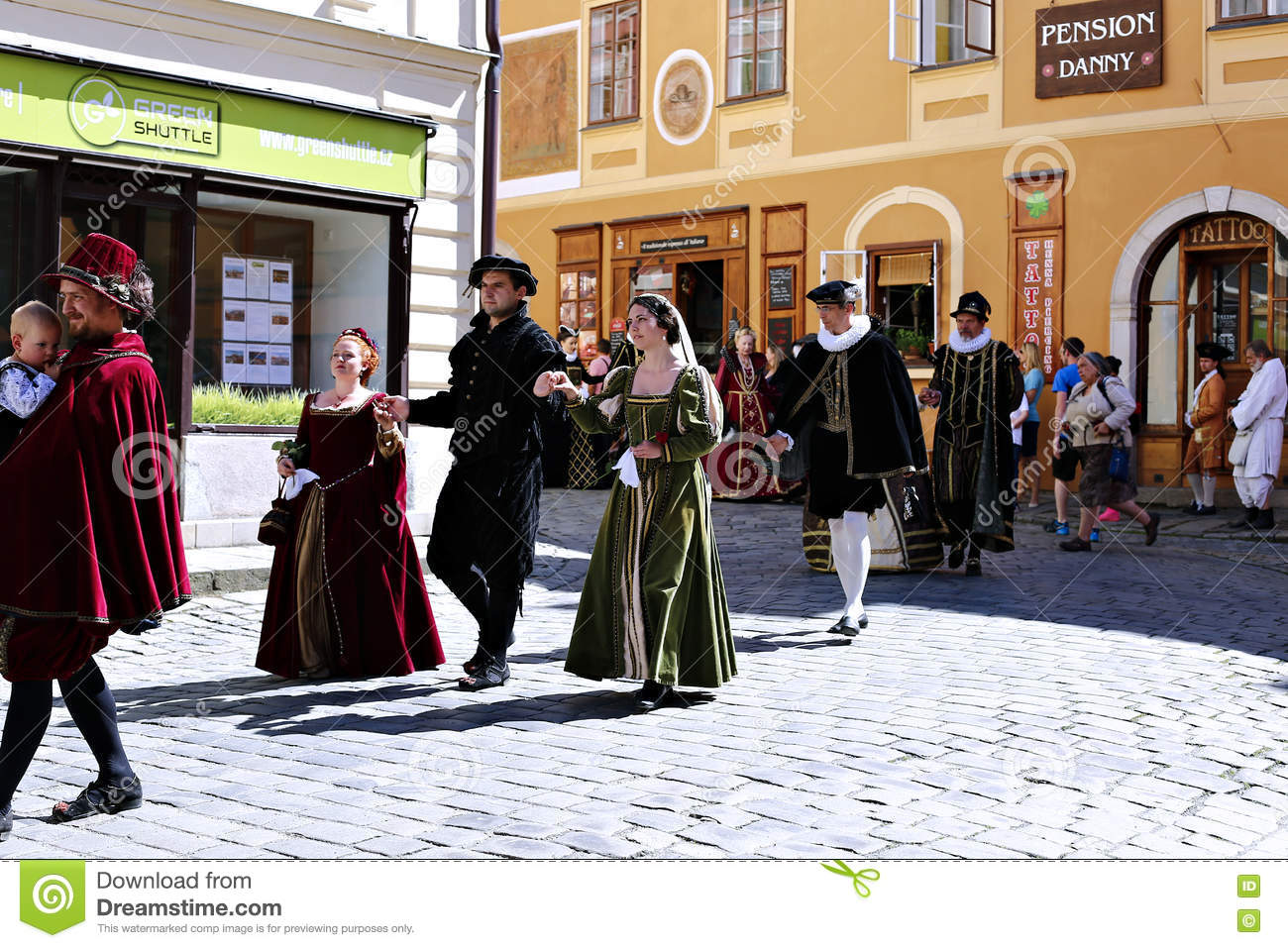 Five-petalled Rose Festival on bystreet in Cesky Krumlov