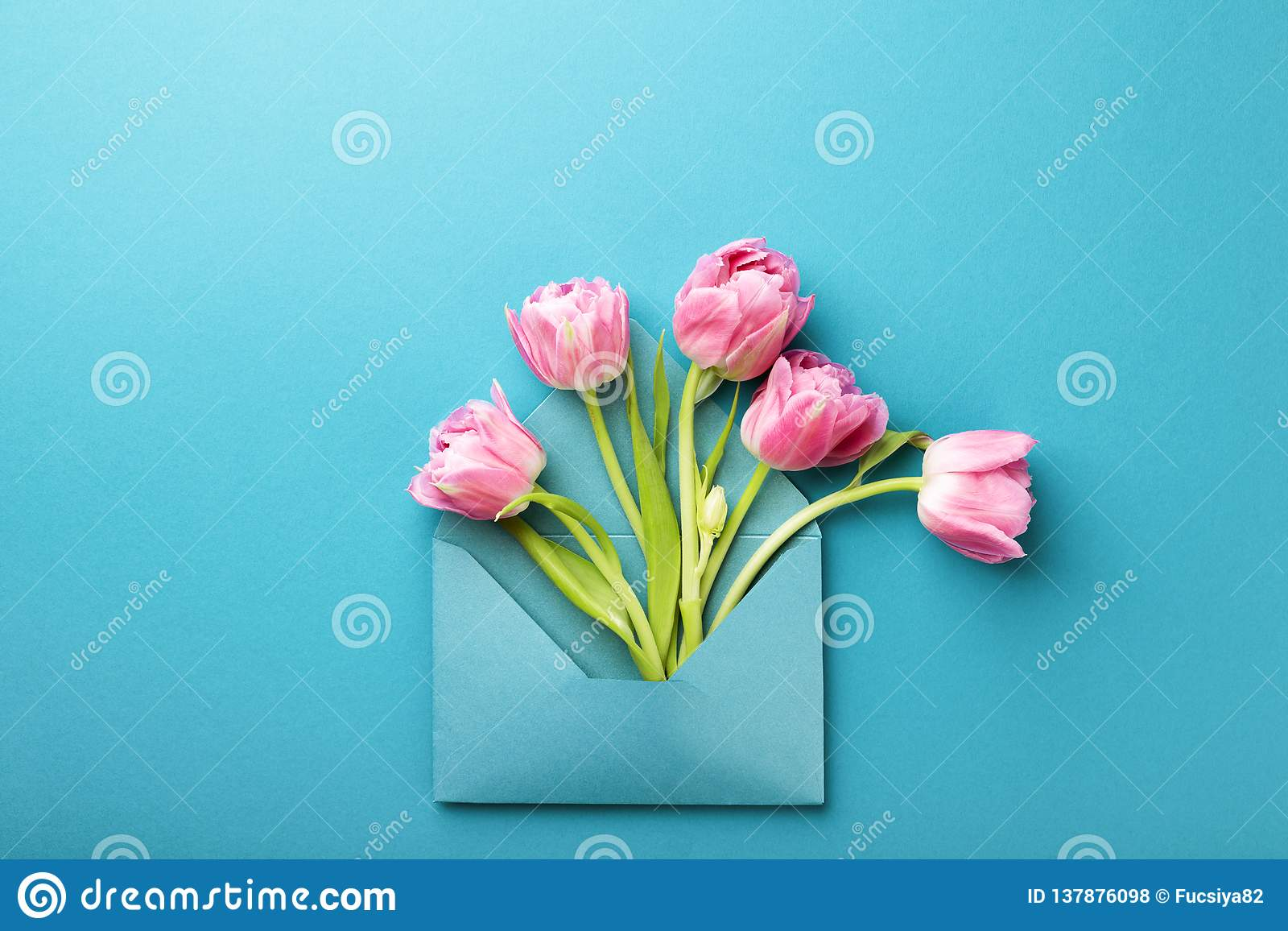 Pink tulips in envelope.