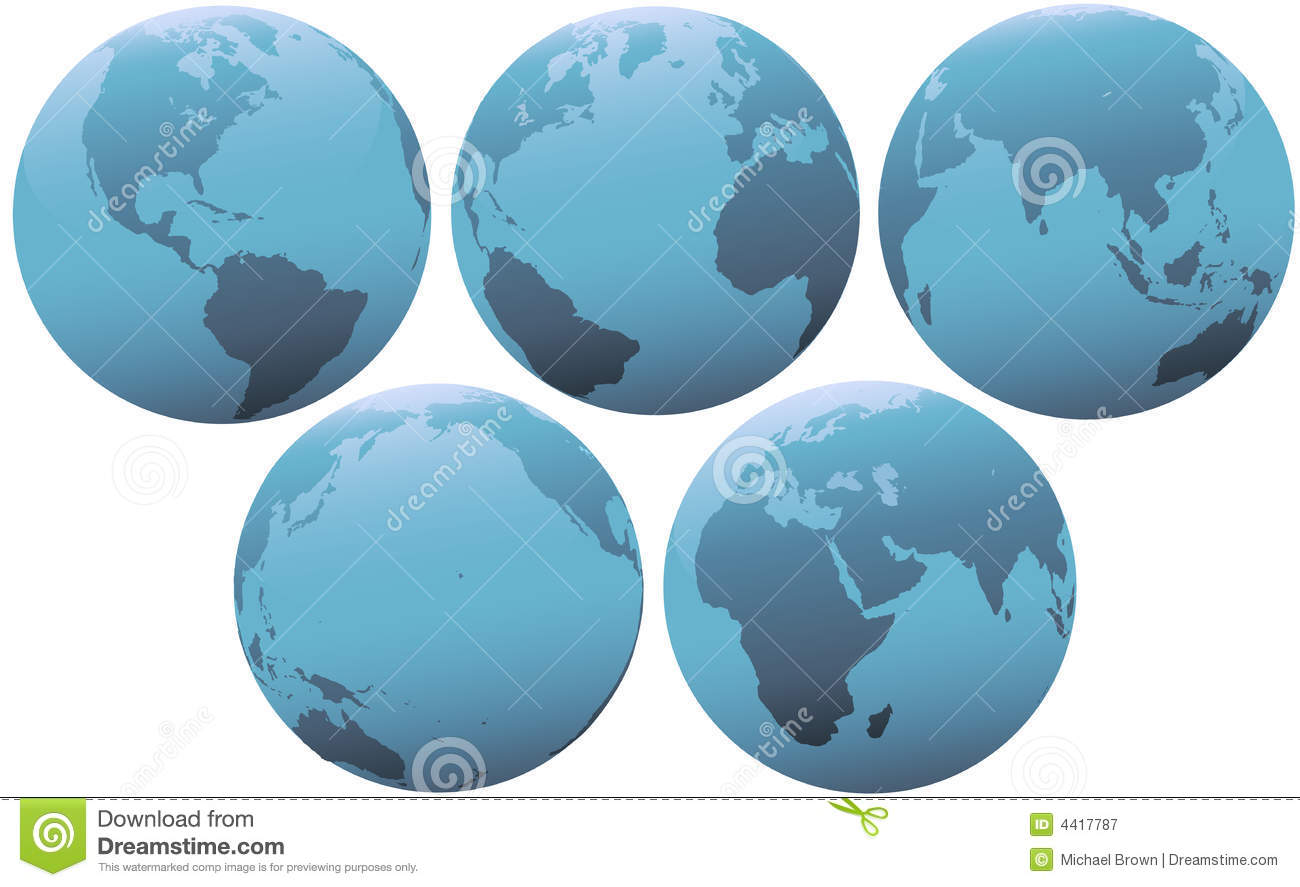 Five Planet Earth Globes in Soft Blue Light