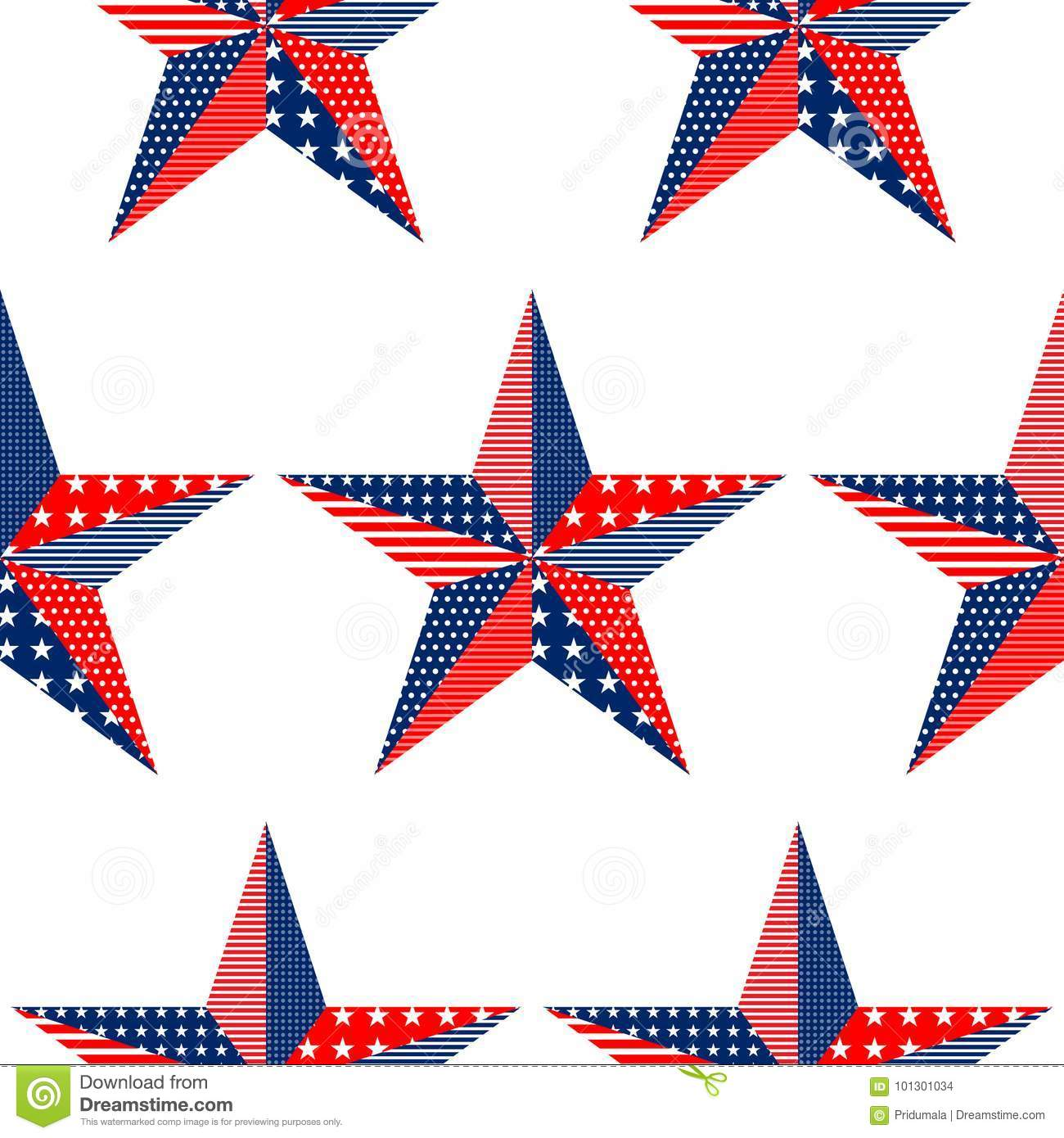 five pointed stars pattern on white background usa national flag