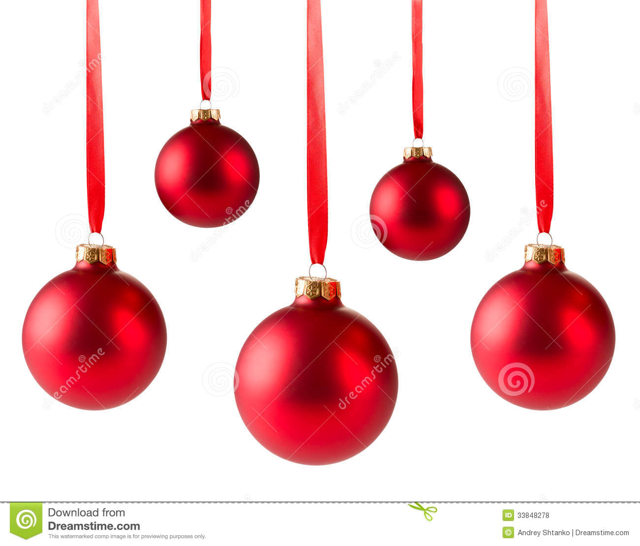 Five Red Christmas Balls Hanging