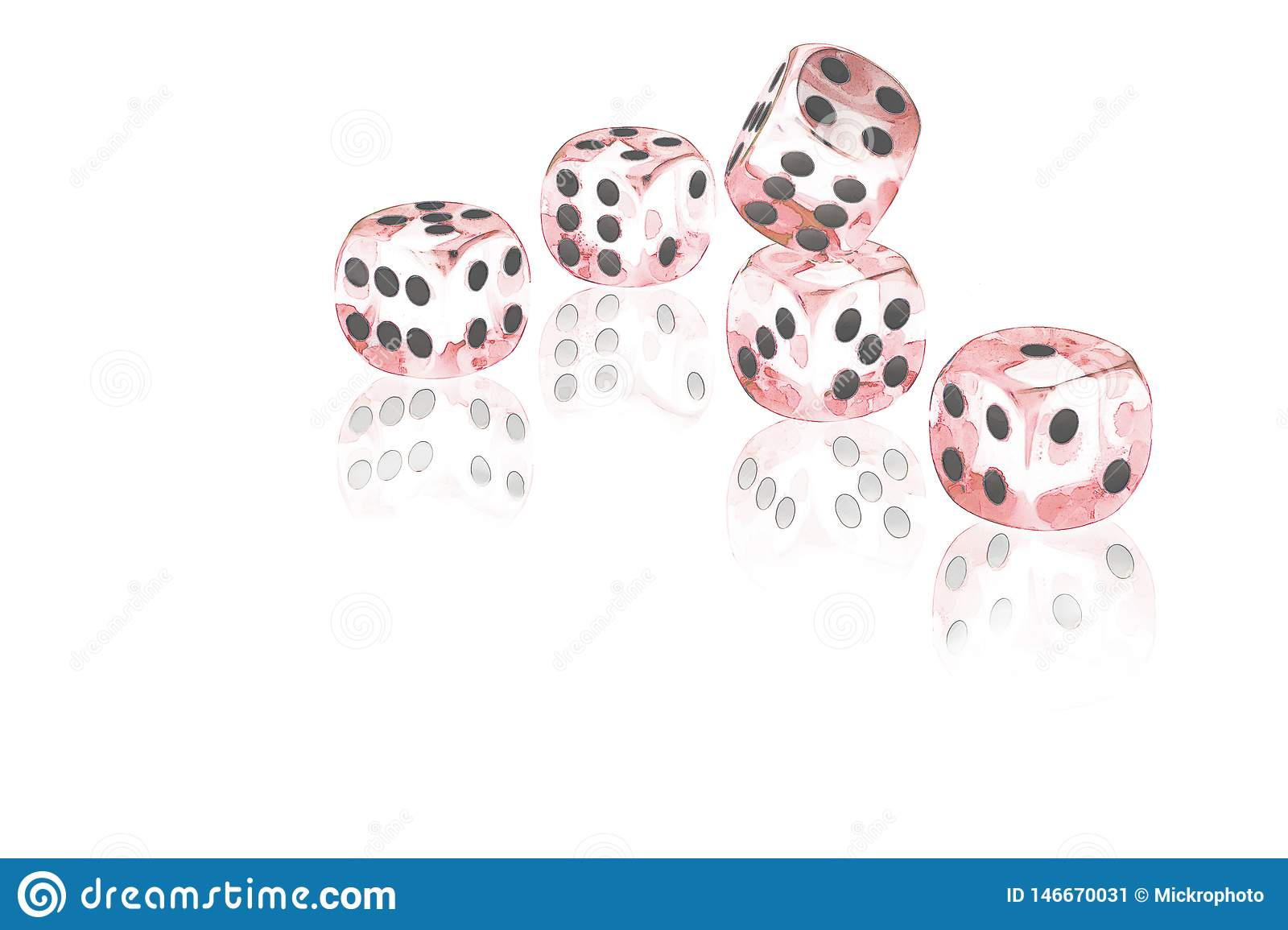 Five red dices on a white background