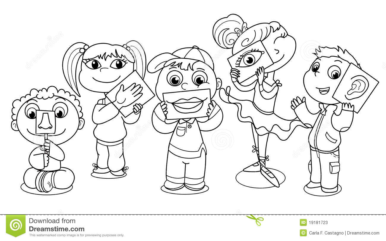 5 senses coloring pages - Children Coloring Illustration Senses