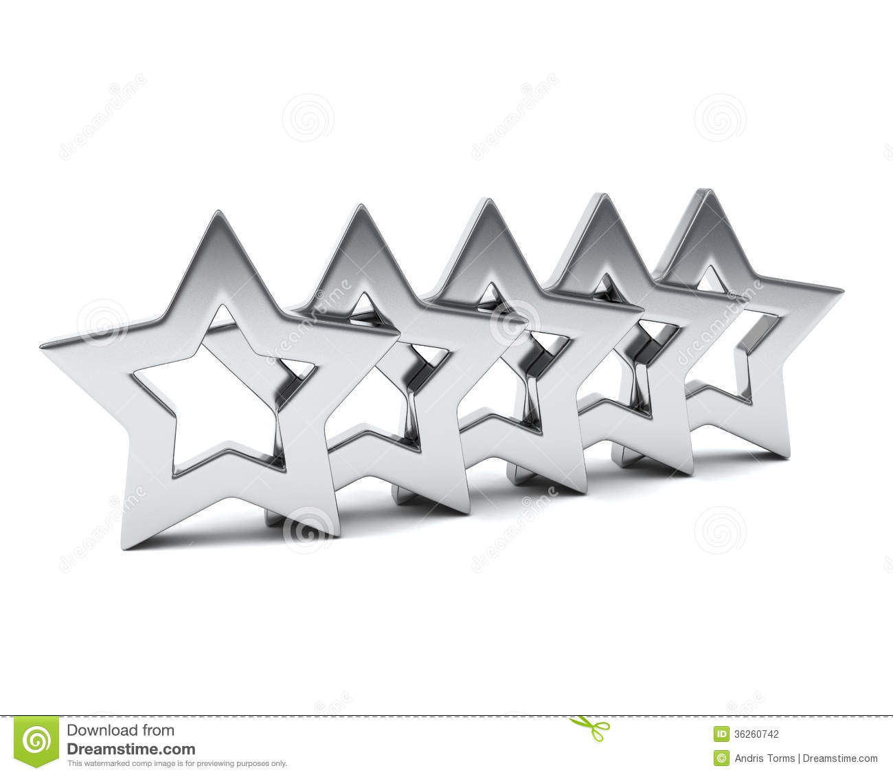 Five silver rating stars, 3d image, concept of success, luxury and ...