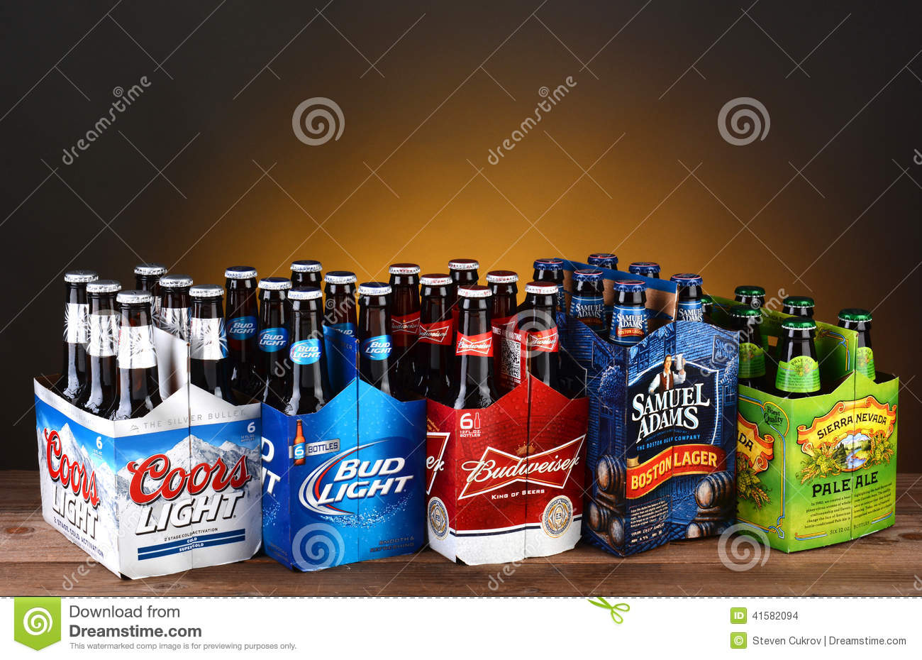 Five Six Packs Of Domestic Beer Editorial Stock Image