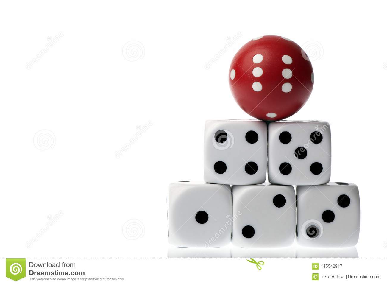 Five square dice and red rounded die isolated on white