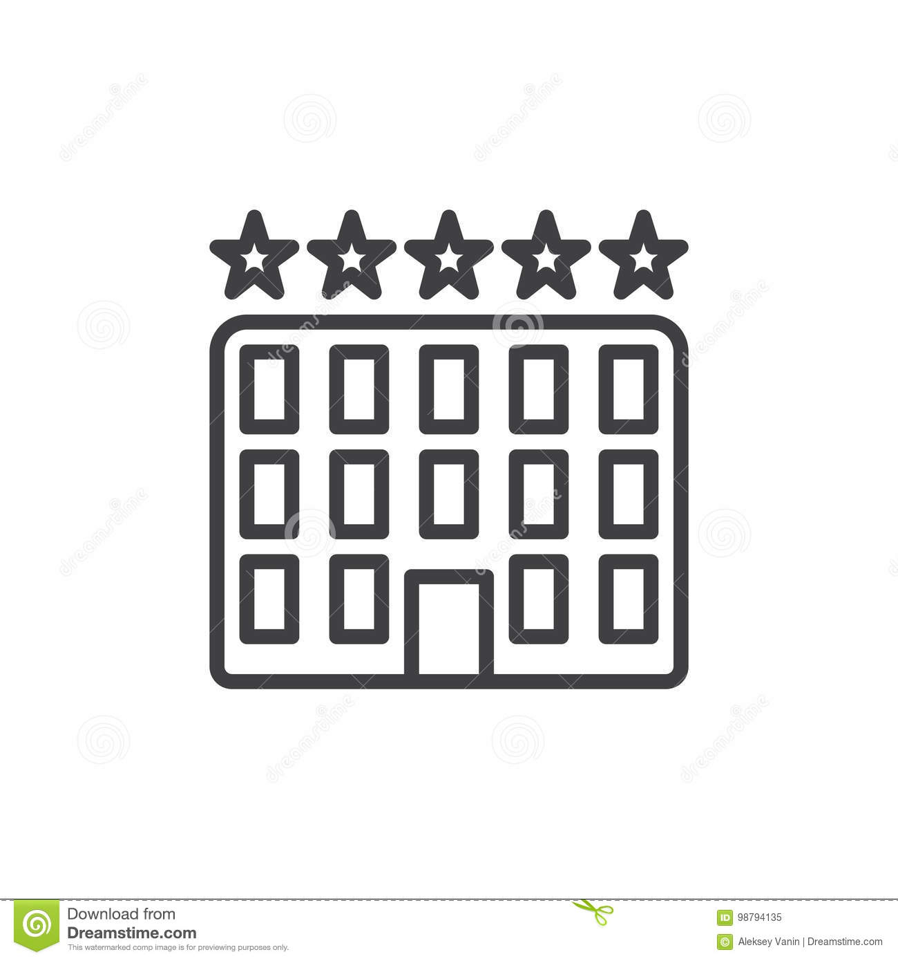 Five Star Hotel Building Line Icon Stock Vector