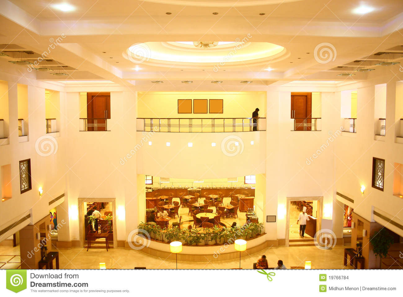 Five Star Hotel Lobby And Fine Dine Restaurant Stock Photo