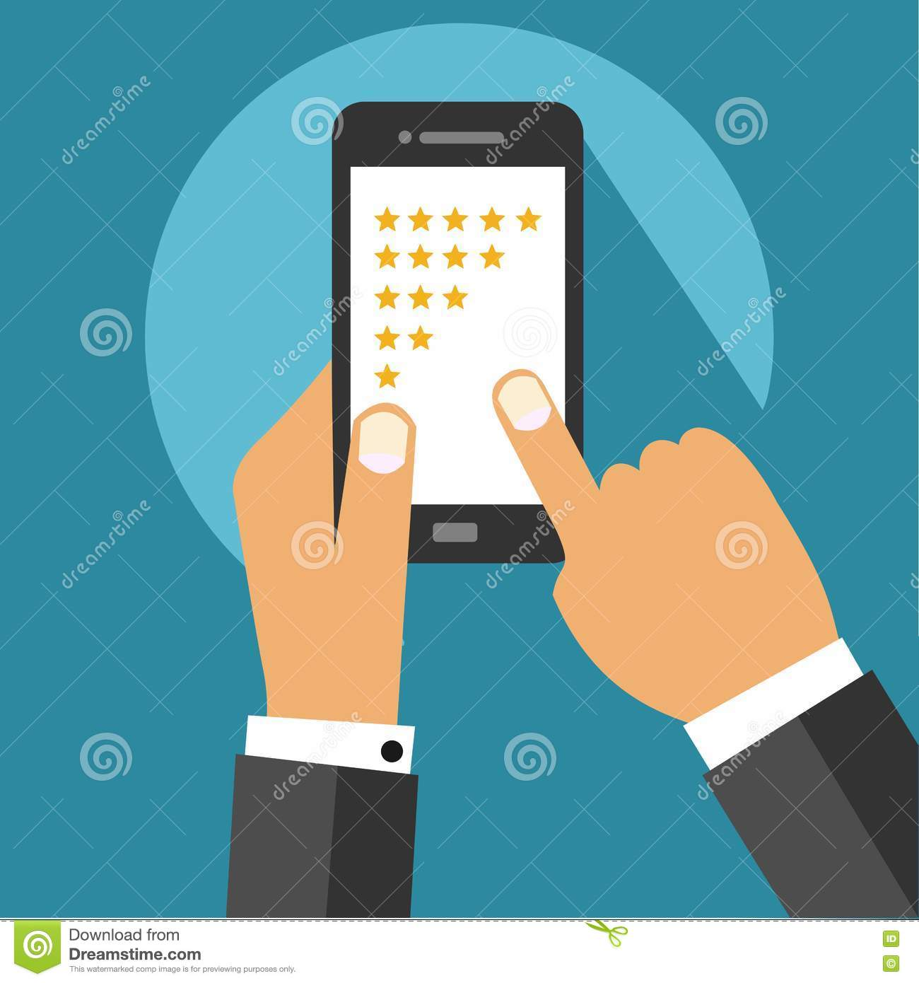 Five Star Rating System On Mobile Device Screen With Hands Flat ...