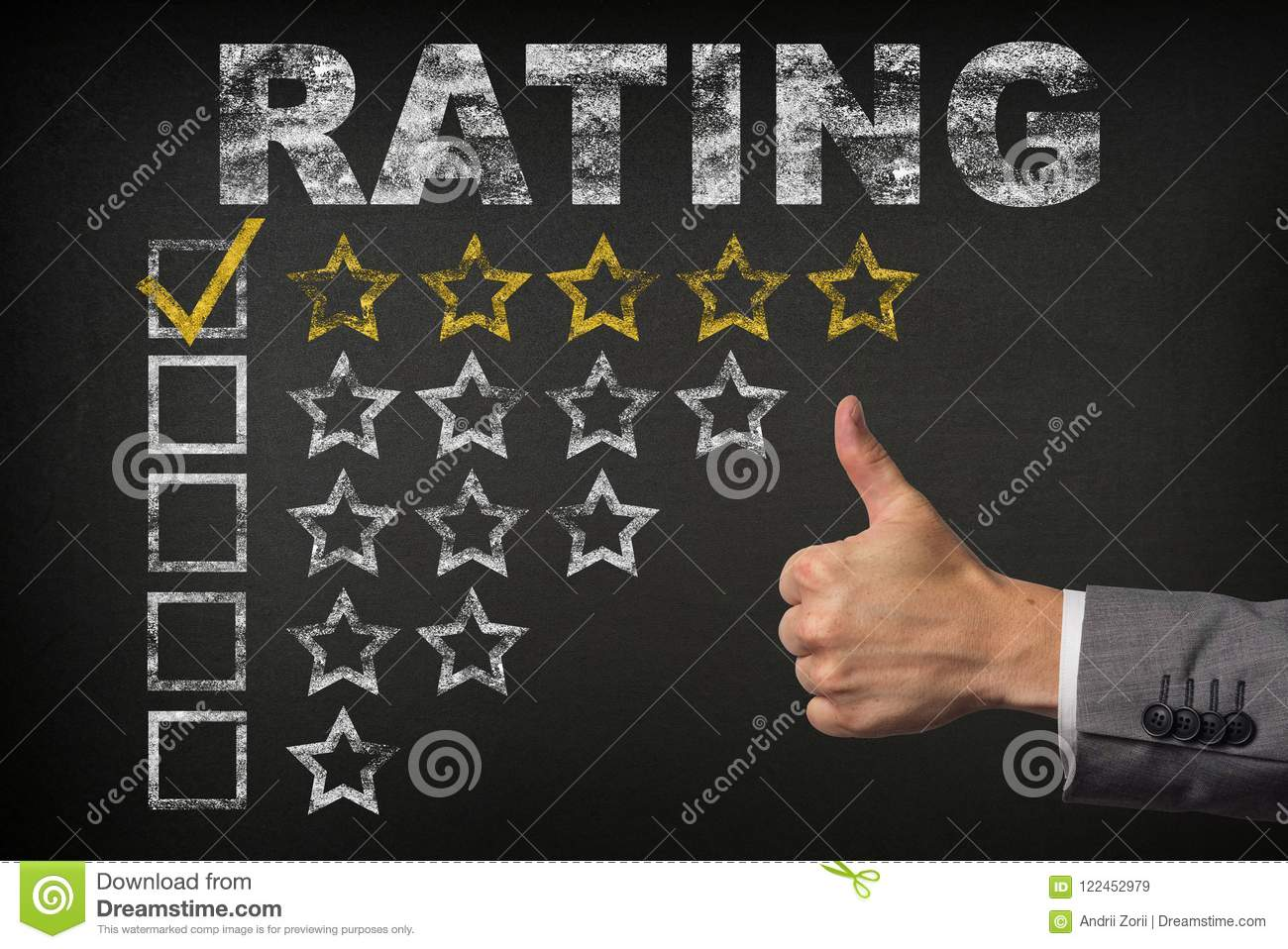 Five 5 Star Rating. thumbs up service golden rating stars on chalkboard