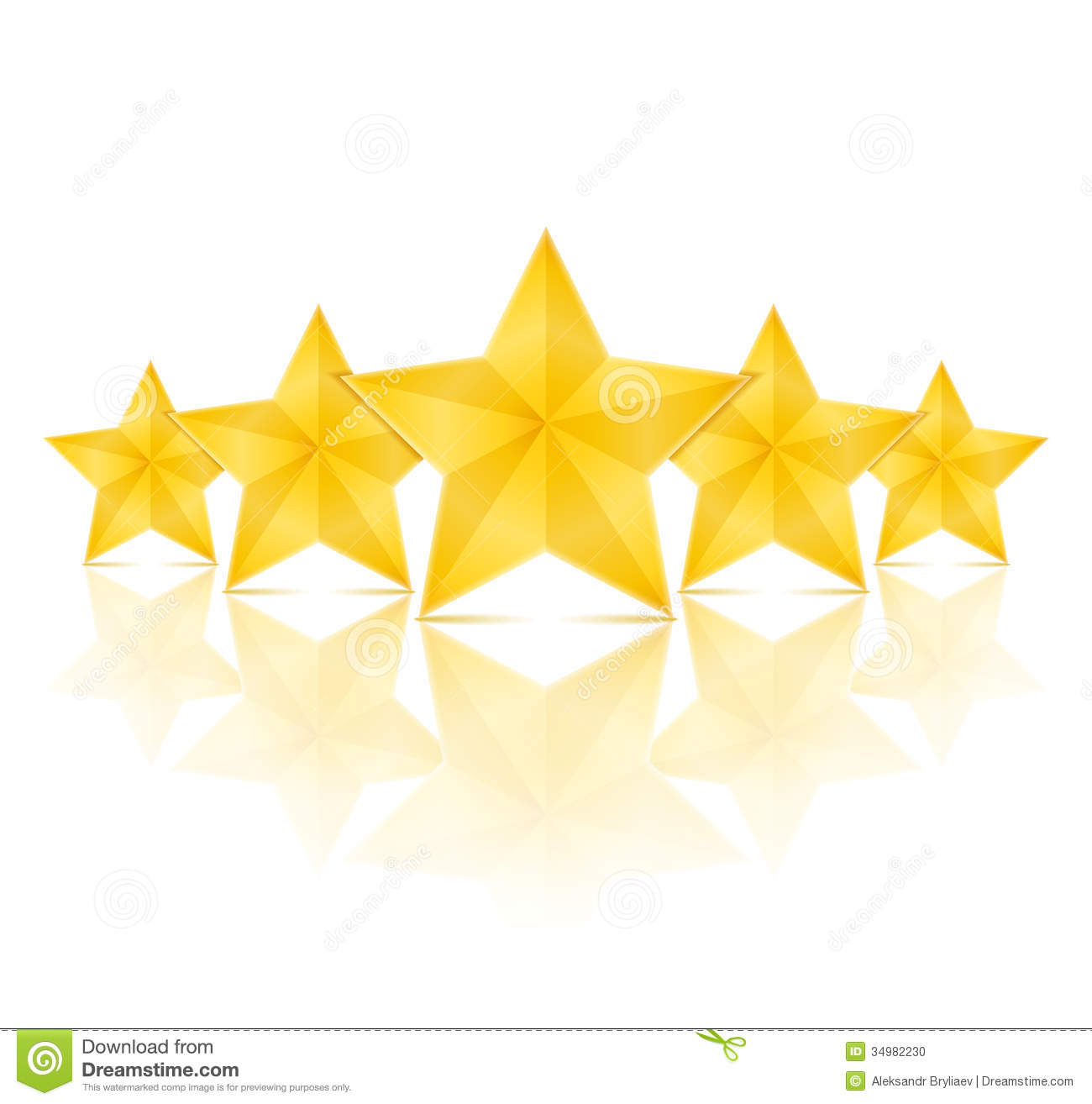 Five golden stars with reflection on white background.