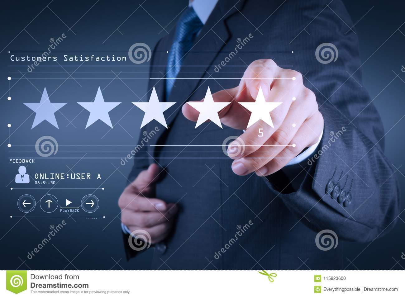Five stars 5 rating with a businessman is touching virtual computer screen.For positive customer feedback and review with excell