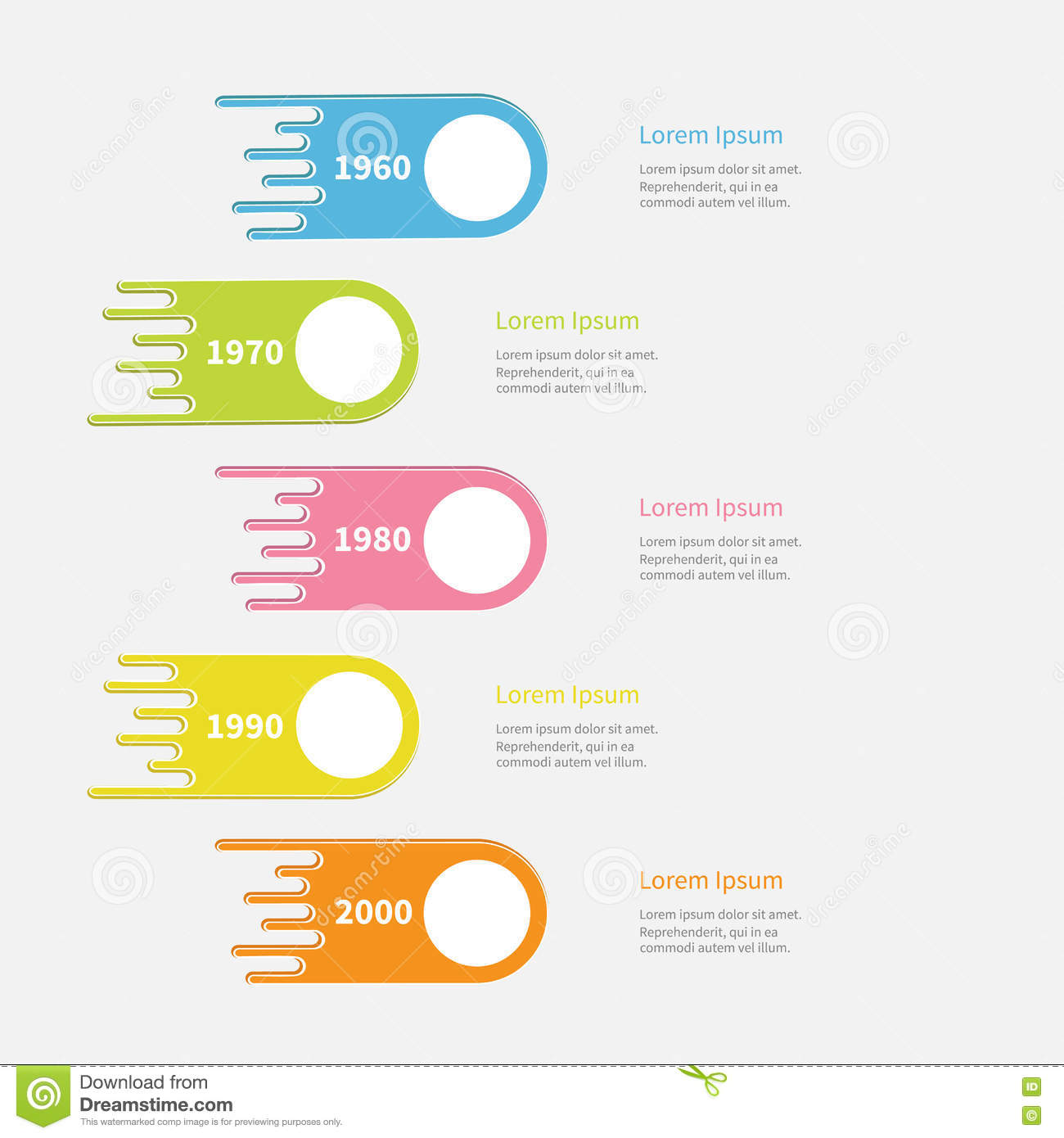 Five Step Timeline Infographic. Vertical Colorful Comet ...