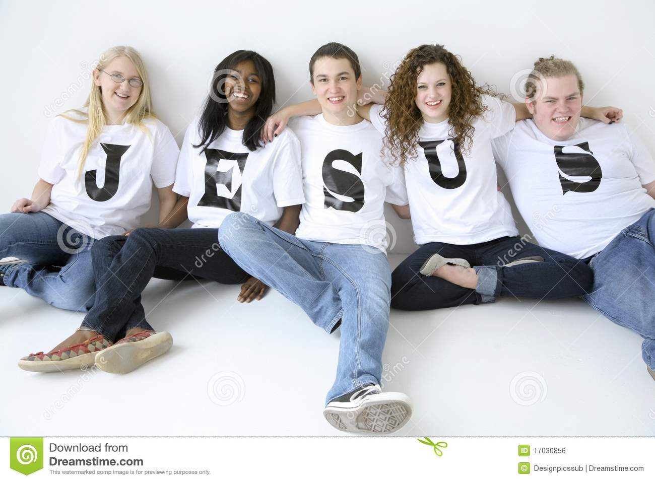 Stock Fotos E Imágenes: Five Teenagers Stock Photo. Image Of Community, Jeans