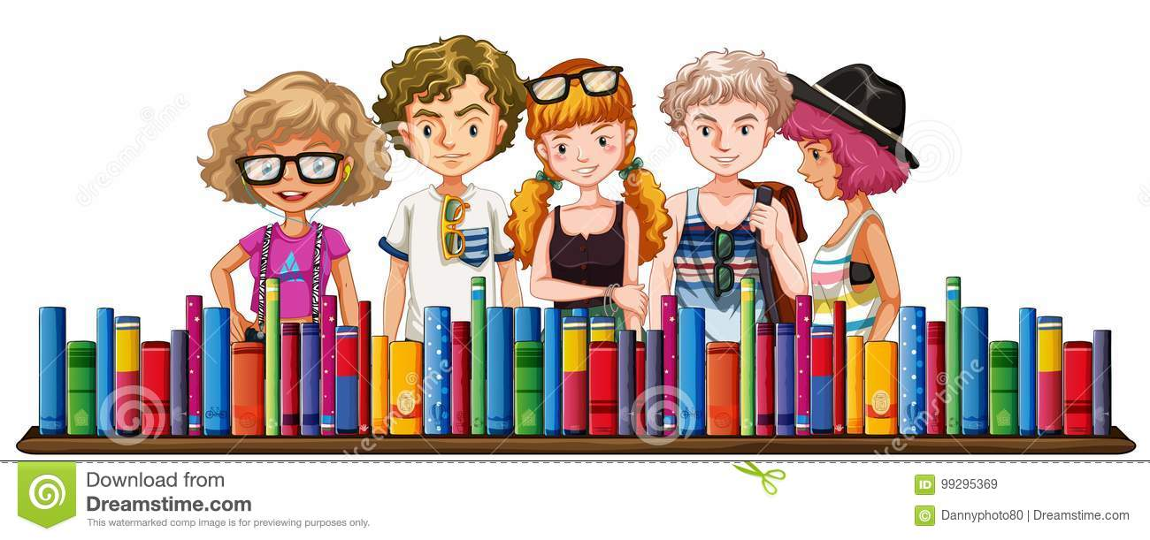 Five teenagers and many books