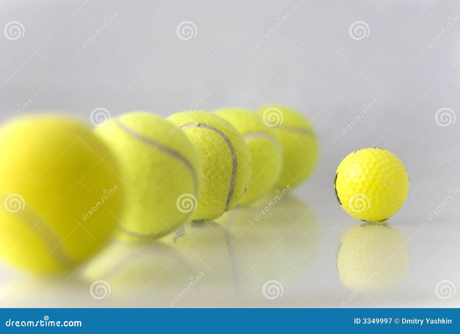 Five tennis balls