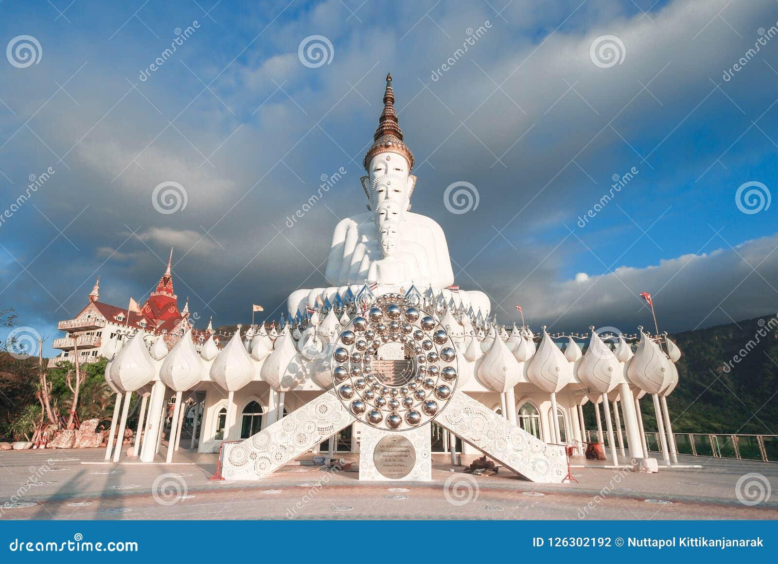 Five white buddha statue at Wat Phra Thart Pha Kaew, Thailand