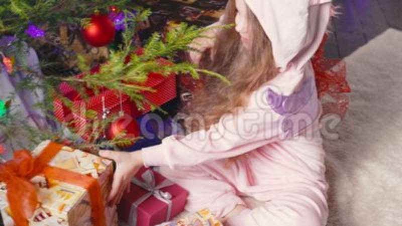 Five Year Old Girl Receiving Her Christmas Gift Stock Footage ...