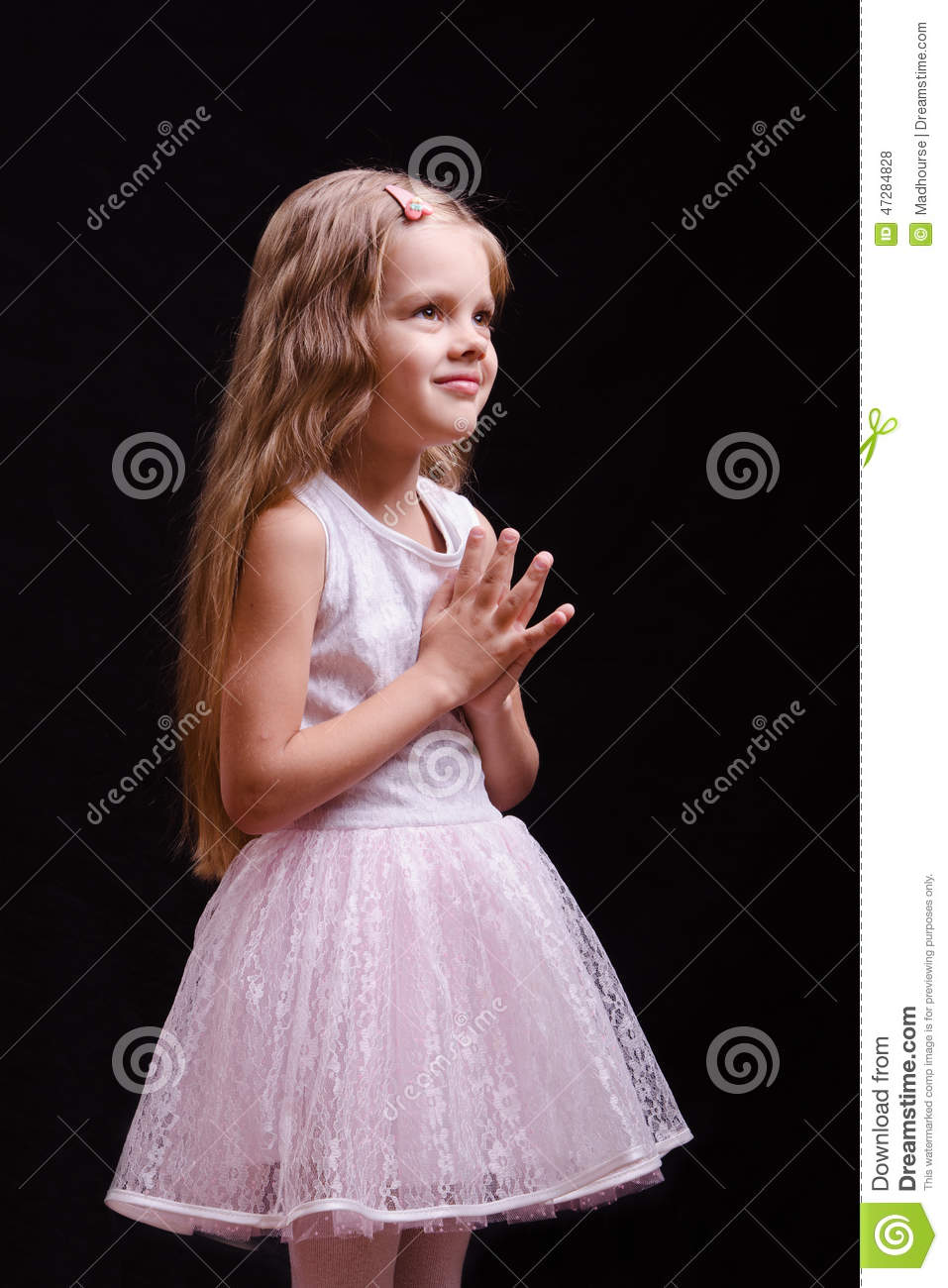 Five Year Old Girl Waiting For A Gift Stock Photo Image