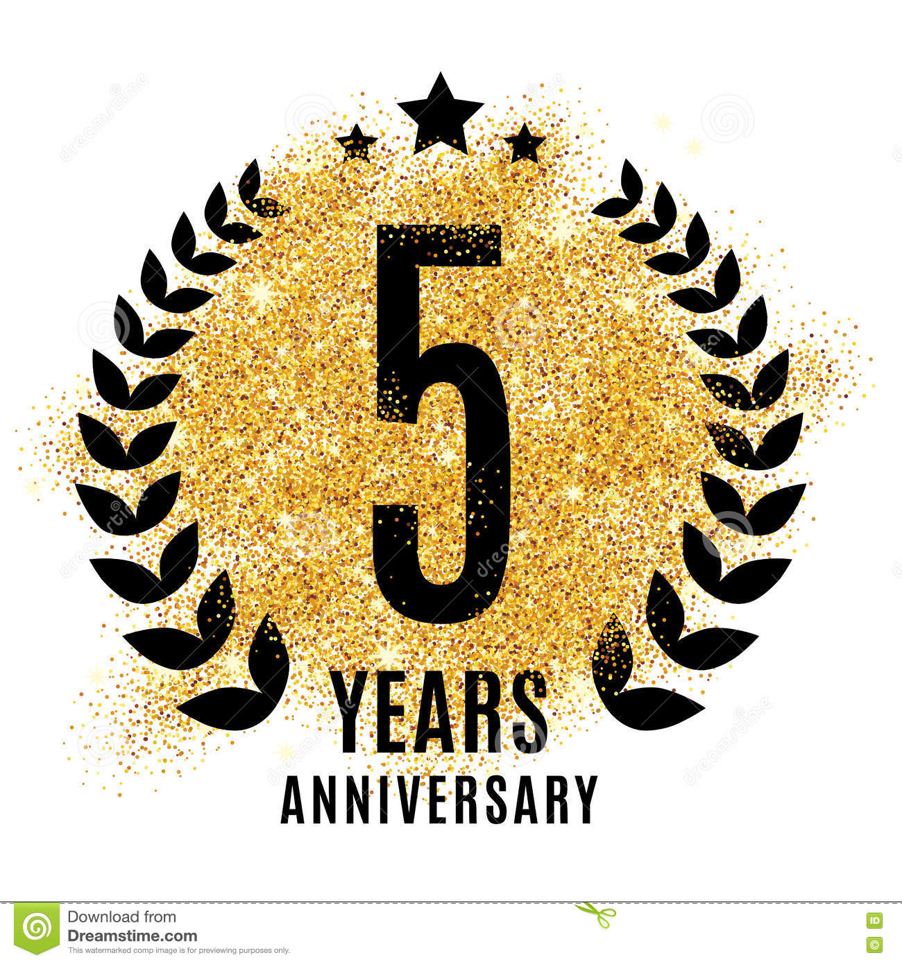 Five Years Golden Anniversary Sign Stock Vector Illustration Of