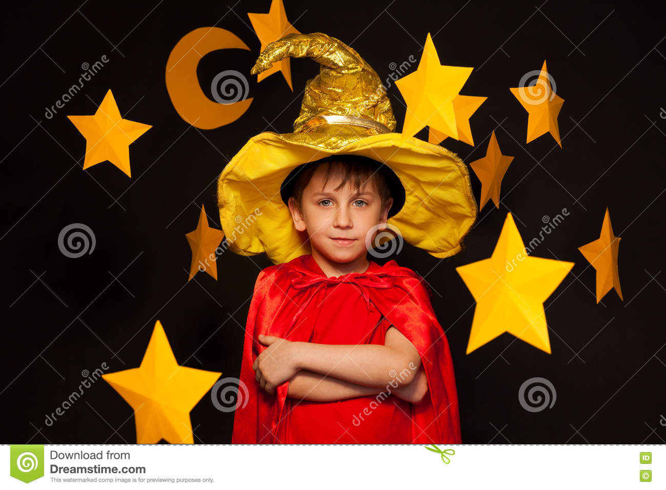 Five Years Old Boy In Sky Watcher Costume Stock Image Image Of