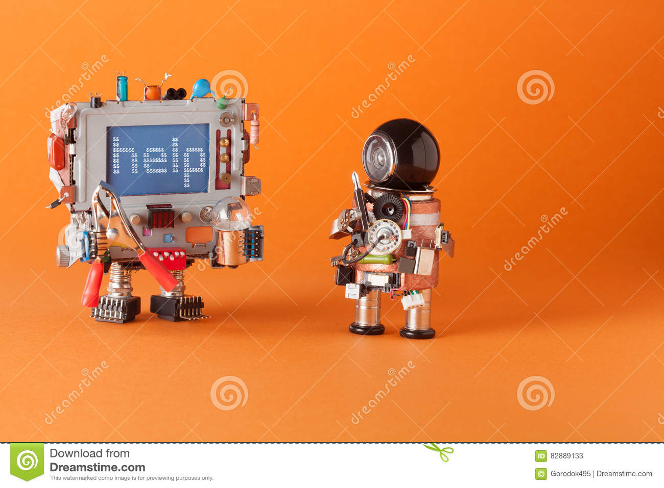Fixing computer repair center concept. Serviceman robot with screwdriver engineer capacitor, pliers light bulb. Warning