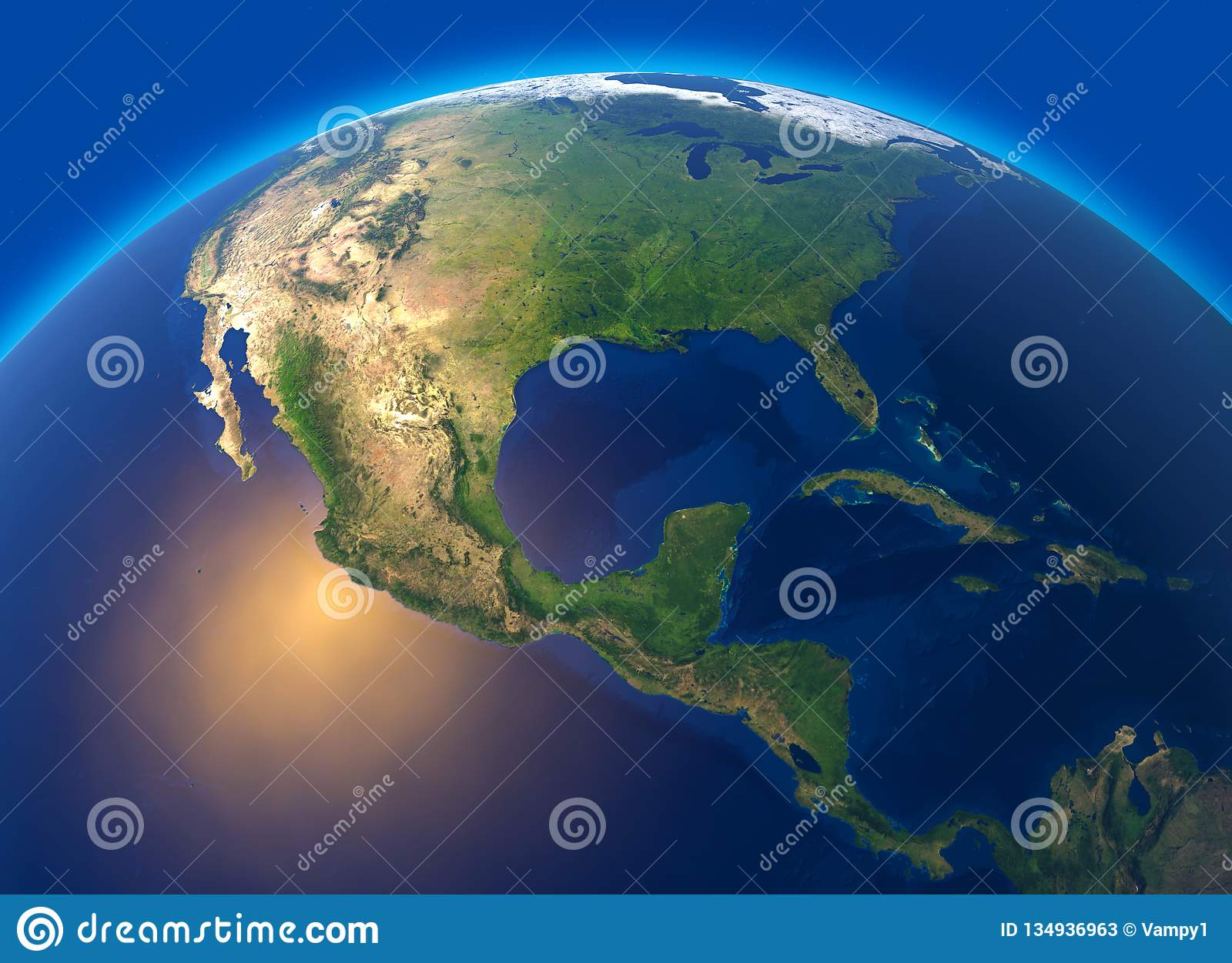 Fizyczna mapa świat, satelitarny widok środkowy Ameryka kulę hemisfera Ulgi i oceany
