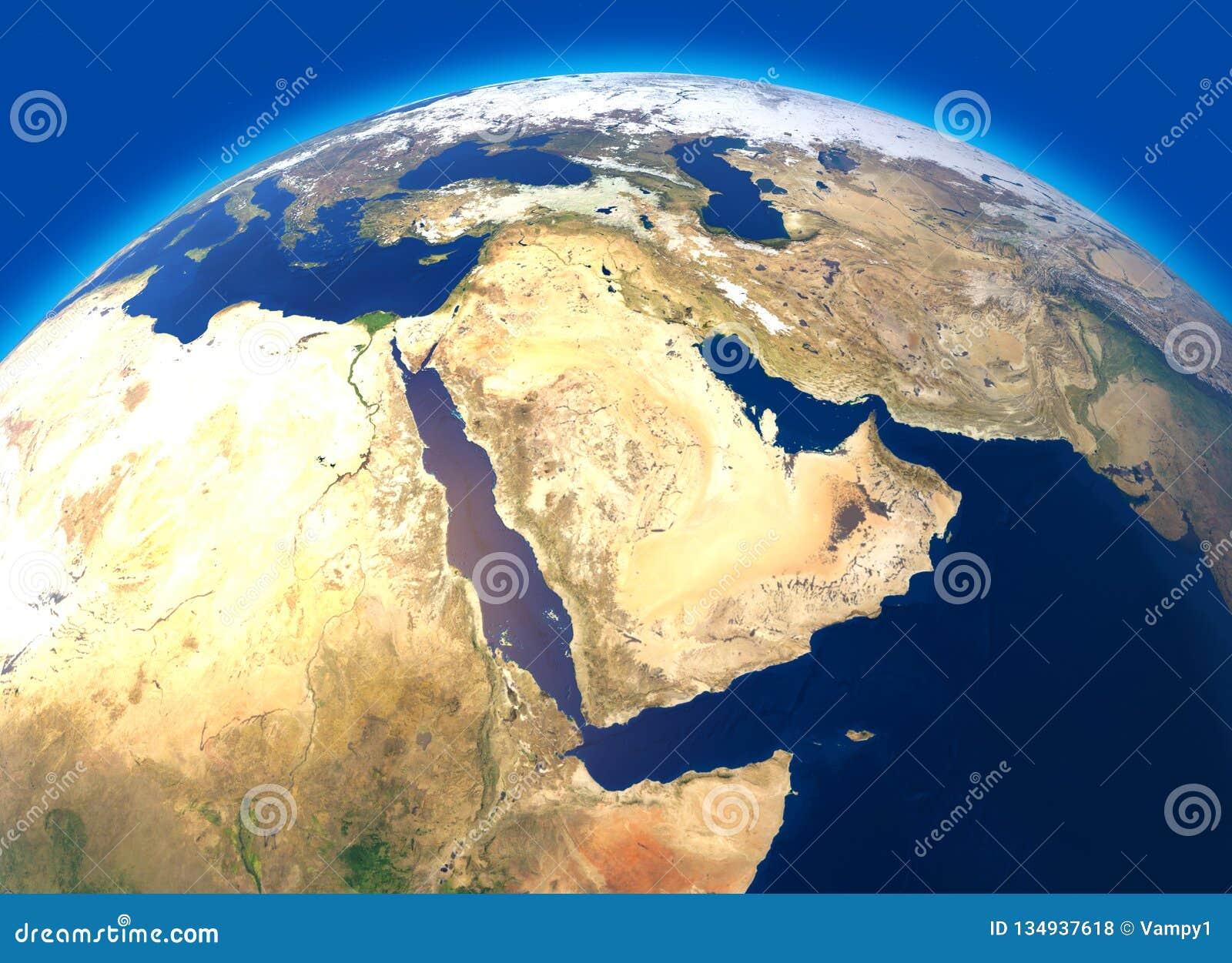 Fizyczna mapa świat, satelitarny widok Środkowy Wschód Afryka, Azja kulę hemisfera Ulgi i oceany