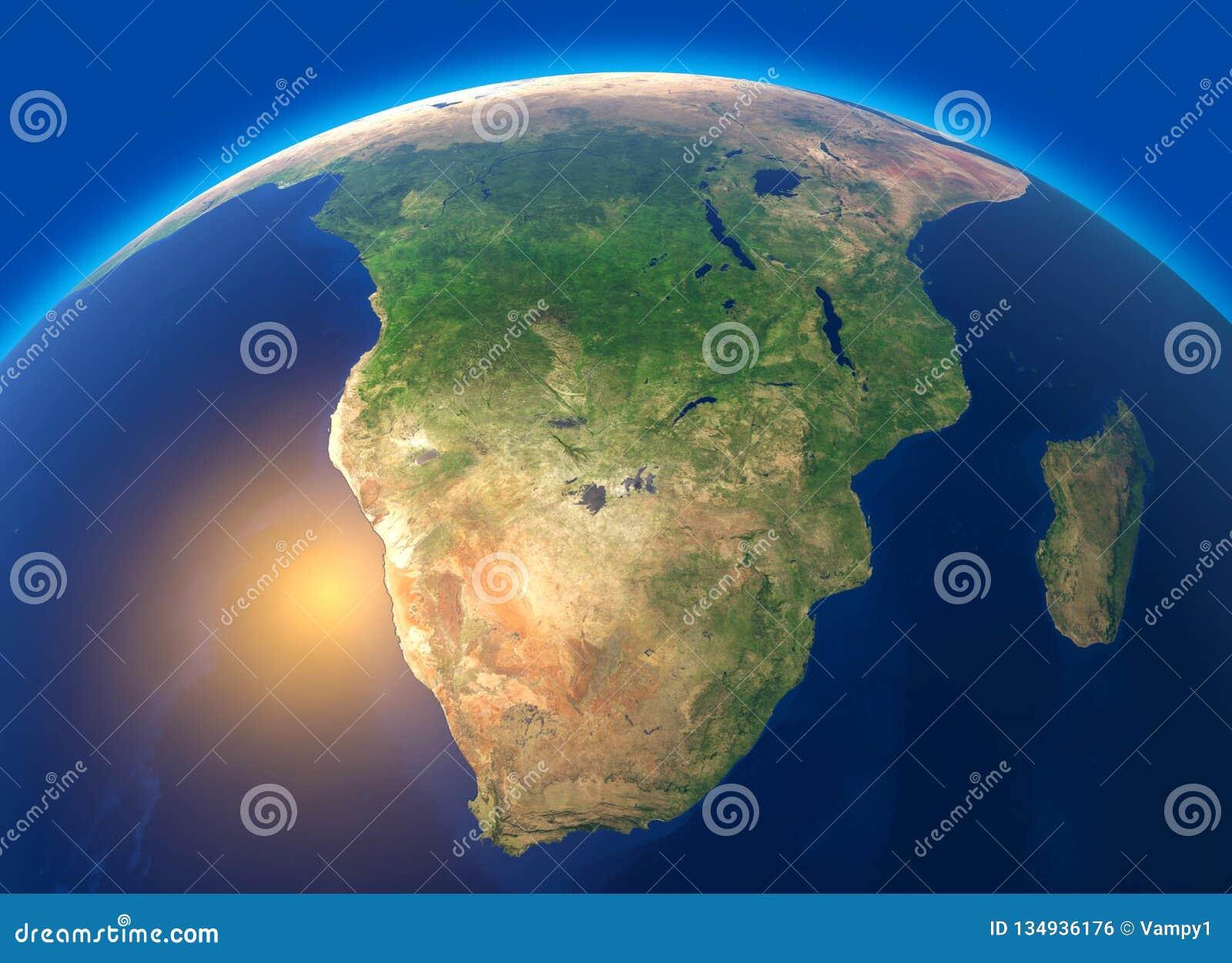 Fizyczna mapa świat, satelitarny widok Południowa Afryka kulę hemisfera Ulgi i oceany
