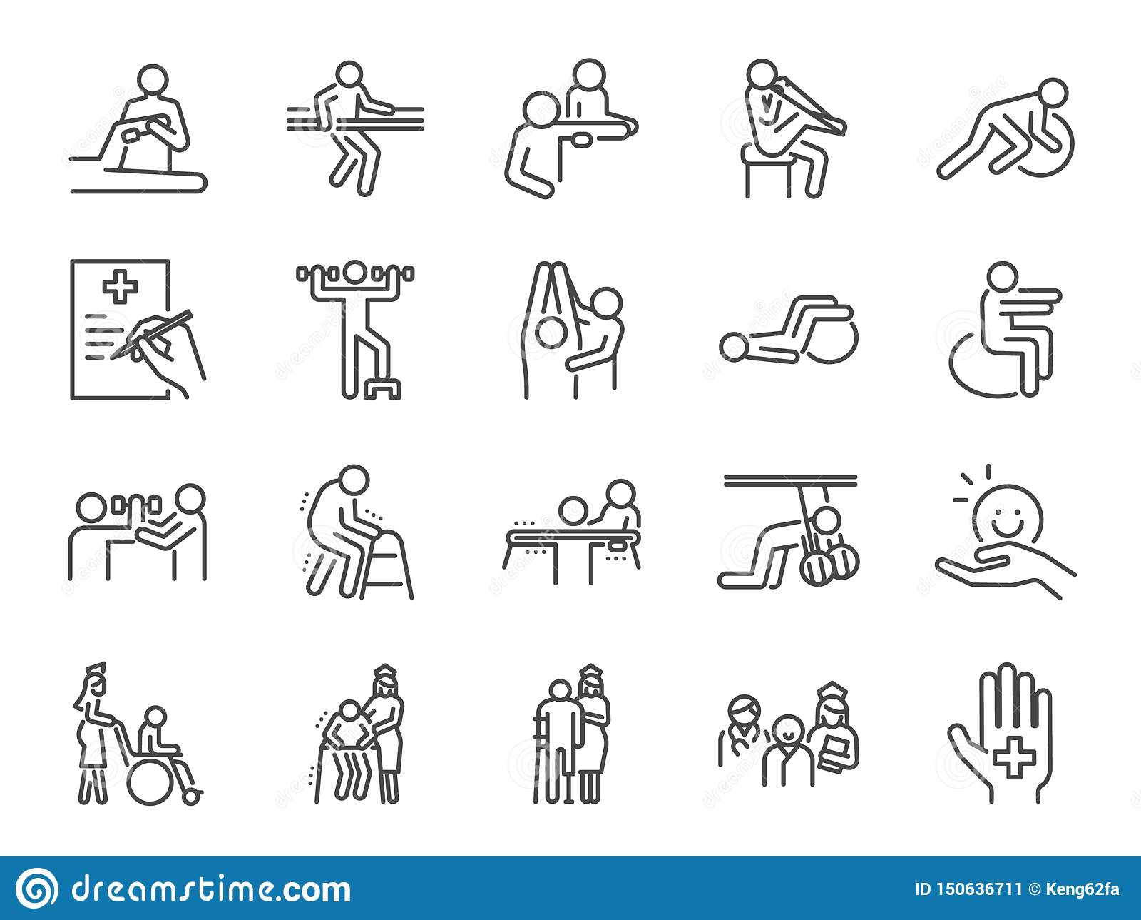Fizycznej terapii linii ikony set Zawierać ikony jako wyzdrowienie, ciało, Karmiący dom, biorą opiekę, szpital, fizjologię i więc