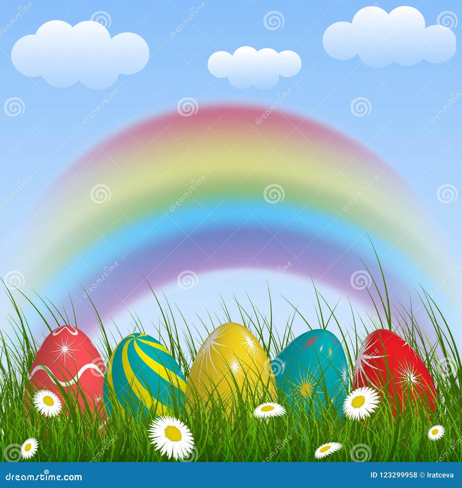 Fjädra bakgrund med regnbågen, grönt gräs, blommor, moln och