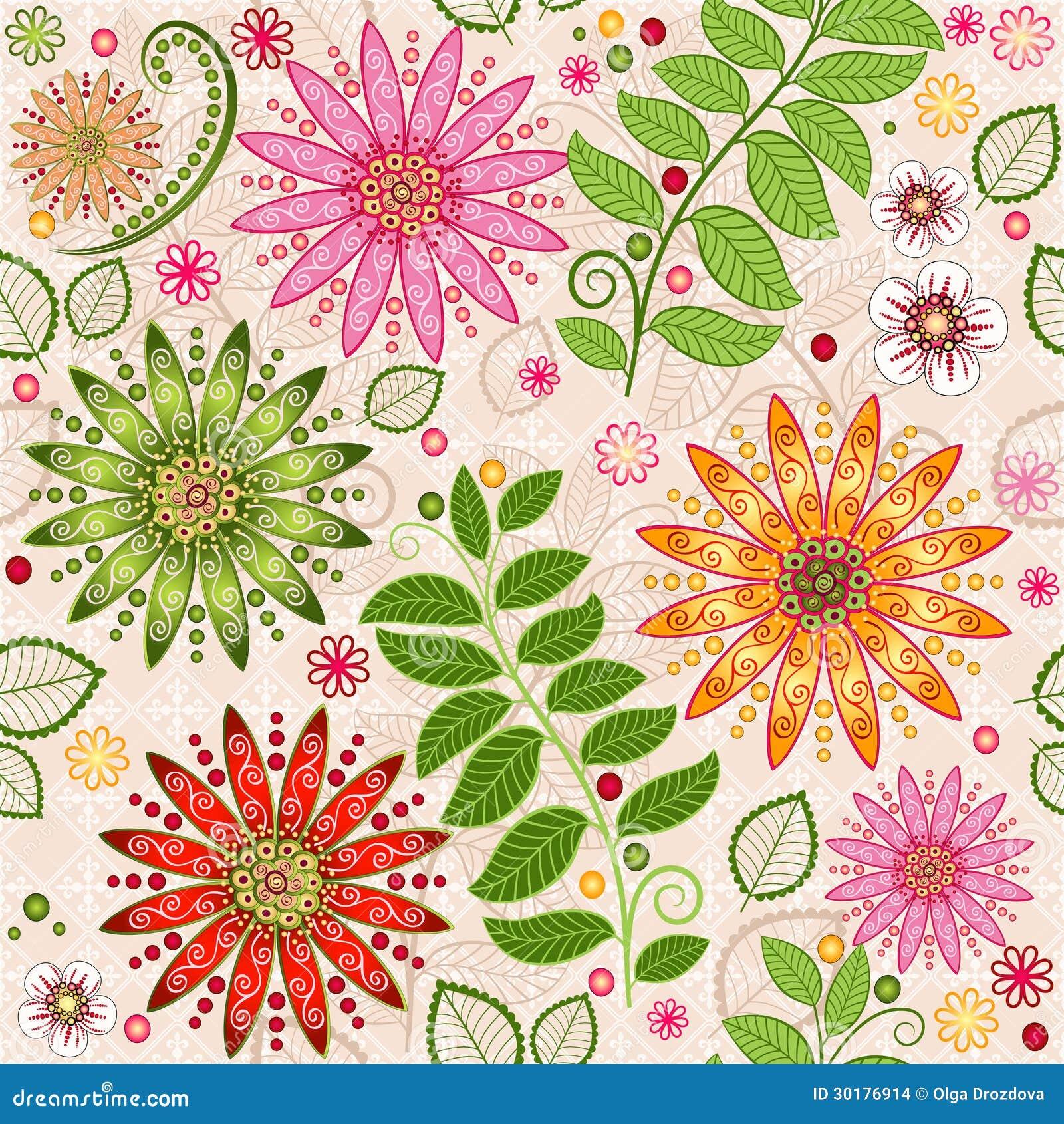 Fjädra färgrikt seamless blom- mönstrar
