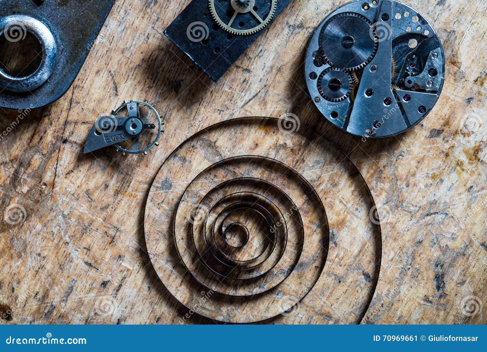 Fjädra, jämviktshjulet och urverk på en tabell