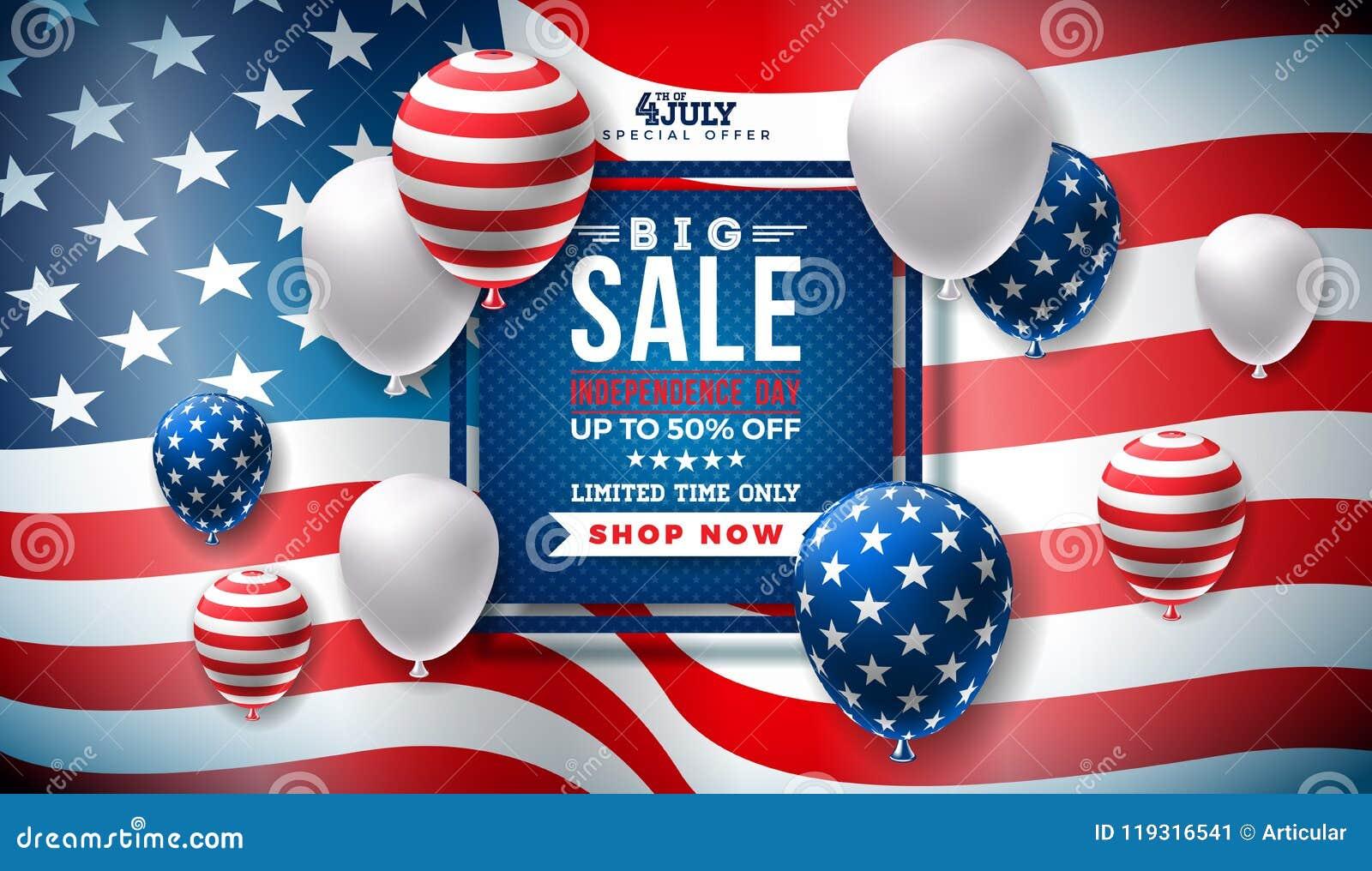 Fjärde juli Design för självständighetsdagenSale baner med ballongen på flaggabakgrund Vektor USA för nationell ferie