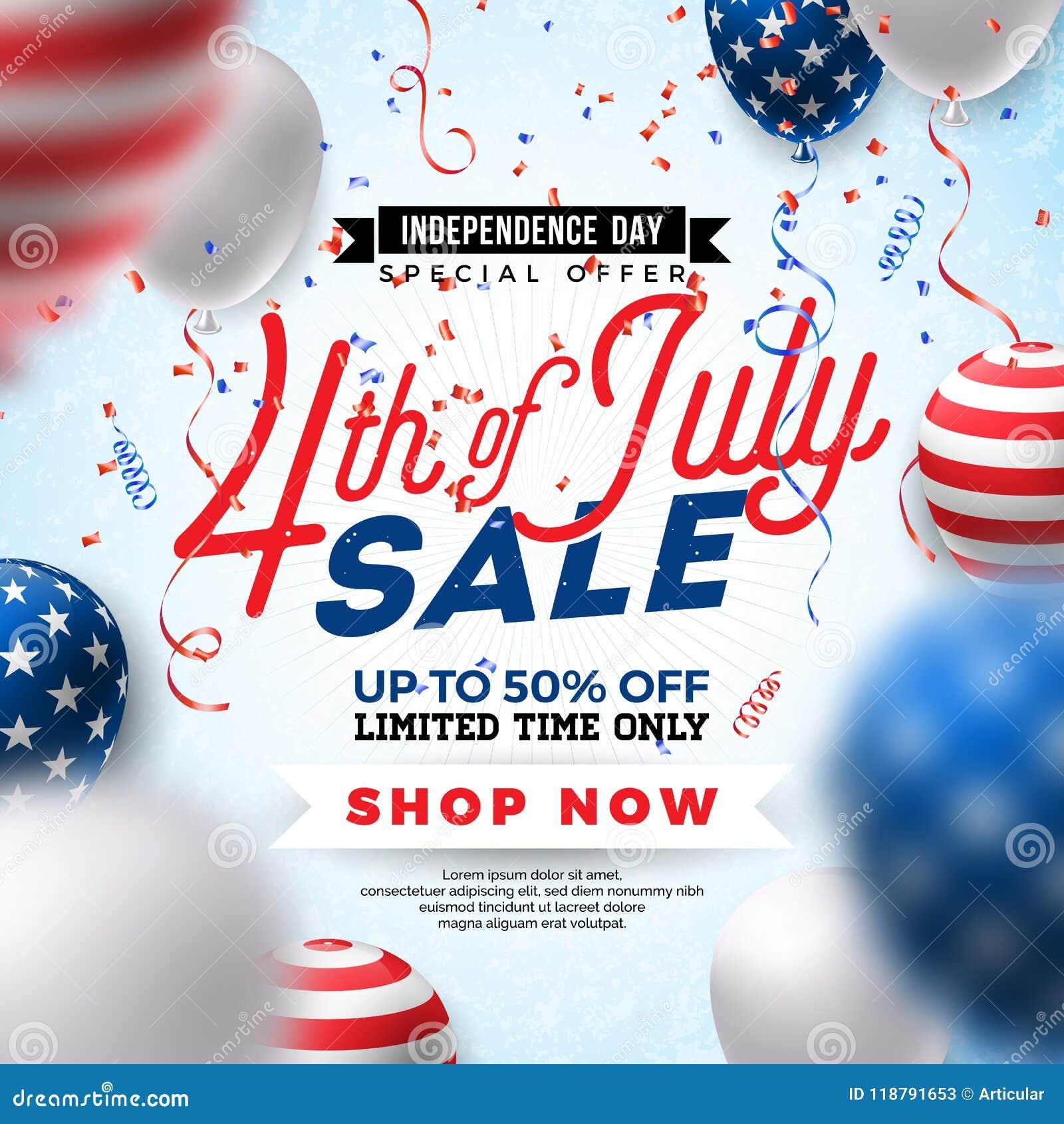Fjärde juli Design för självständighetsdagenSale baner med ballongen på konfettibakgrund Vektor USA för nationell ferie