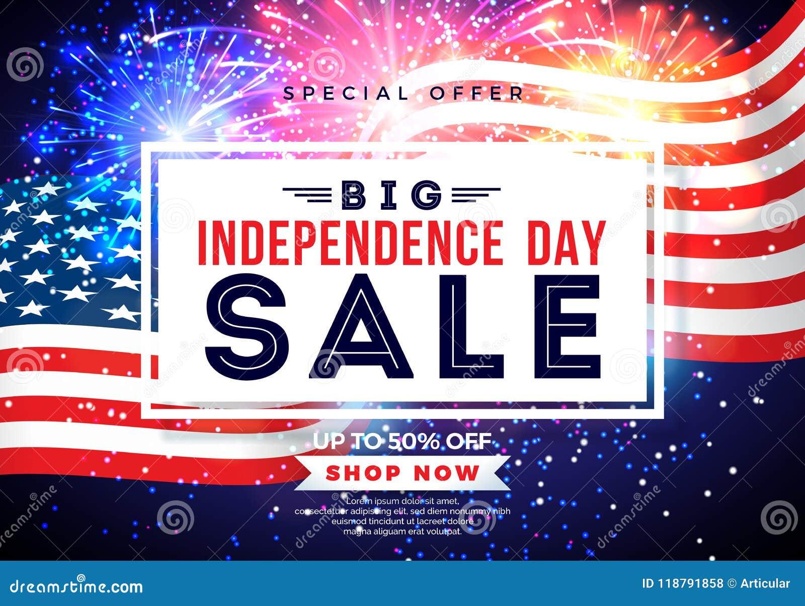 Fjärde juli Design för självständighetsdagenSale baner med flaggan på fyrverkeribakgrund Vektor USA för nationell ferie