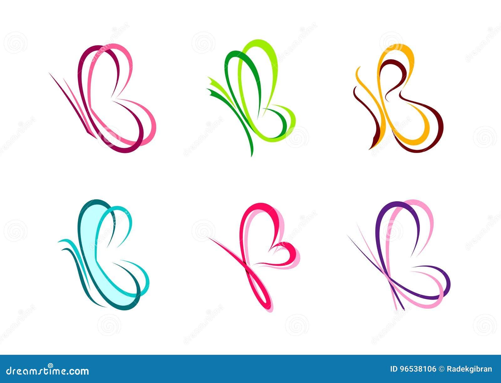 Fjärilen logoen, hjärta, skönhet, brunnsort, kopplar av, älskar, vingar, yoga, livsstilen, abstrakt fjärilsuppsättning av för sym