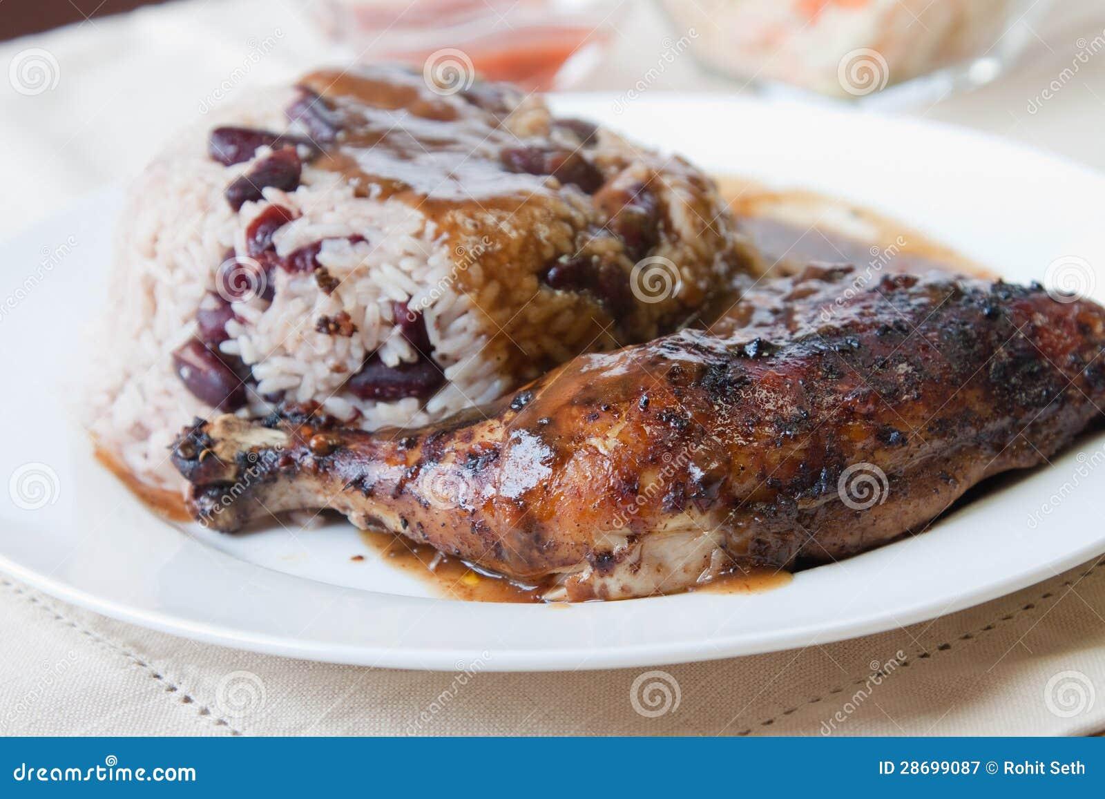 Fjanthöna med karibisk Rice - utforma