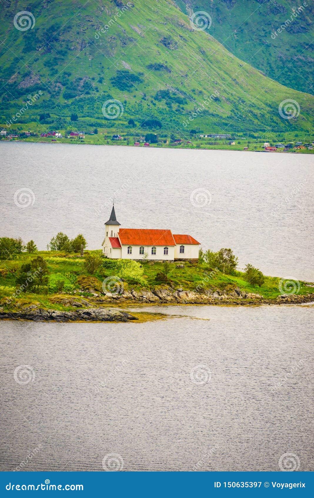 Fjord landscape with church. Lofoten Norway