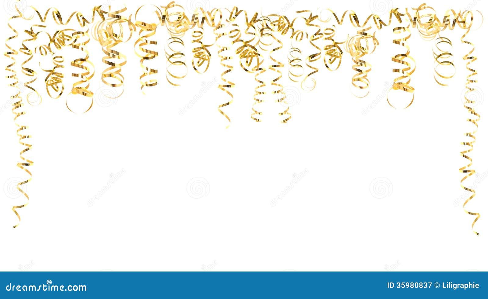 Flámulas Serpentinas De Oro Aisladas En Blanco Imagen de archivo - Imagen de acontecimiento ...