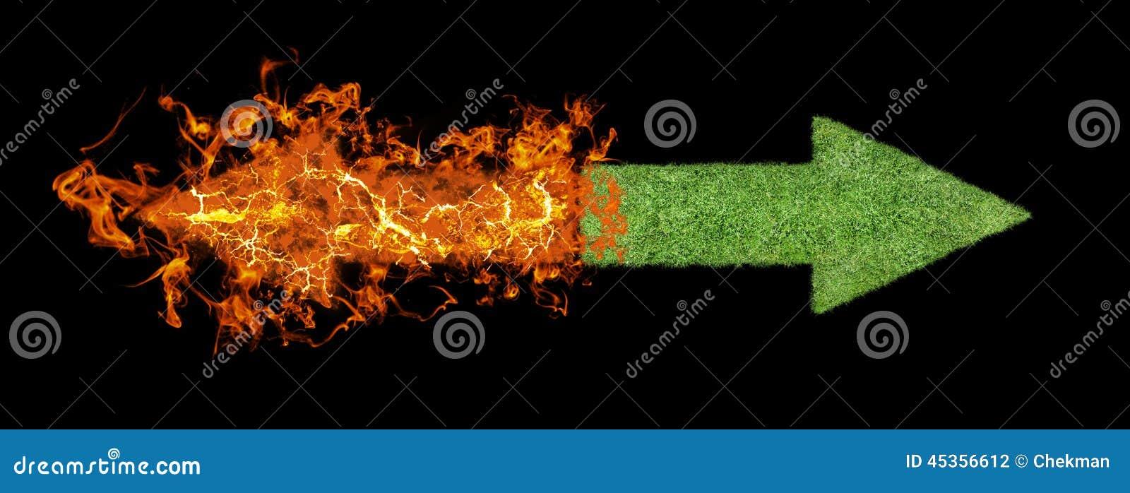 Flèche d herbe verte, flèche en hausse de flamber