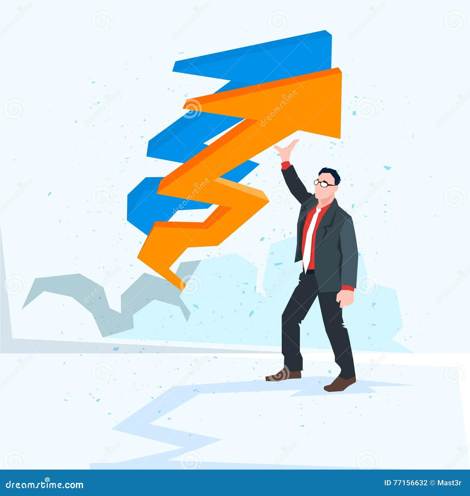 Flèche d homme d affaires vers le haut de concept financier de succès