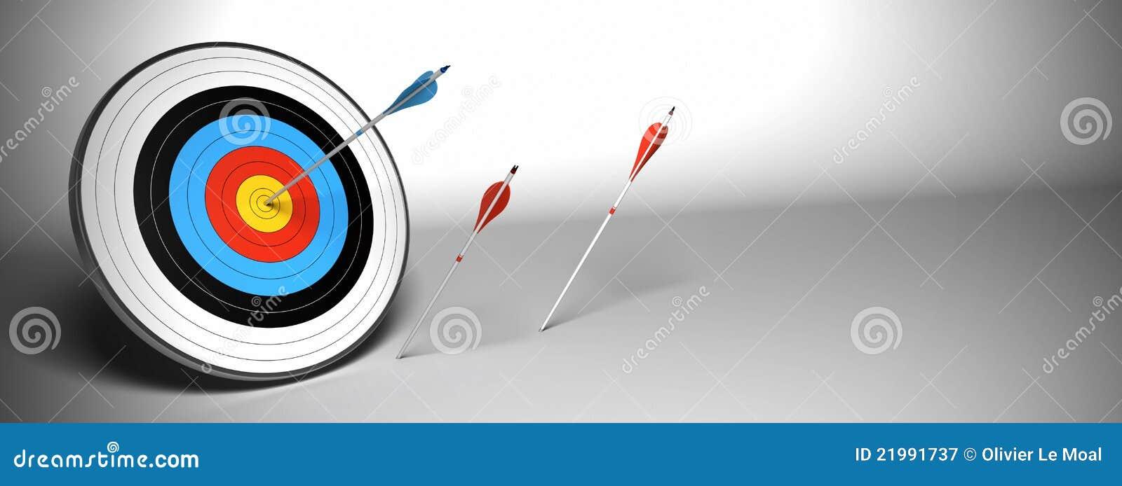 Flèche de cible au-dessus d un drapeau gris de fond