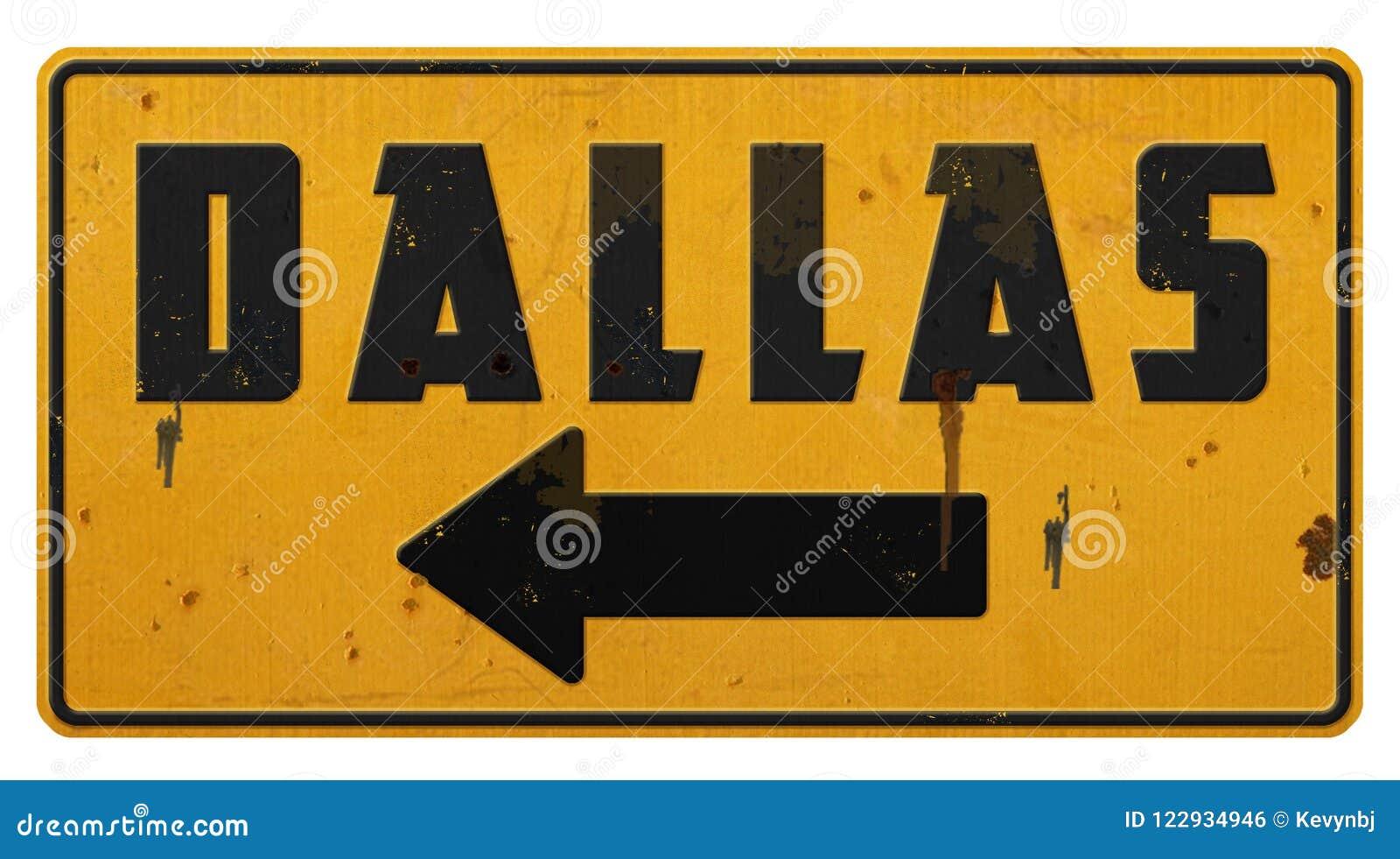 Flèche de jaune de Dallas Street Sign Grunge Metal