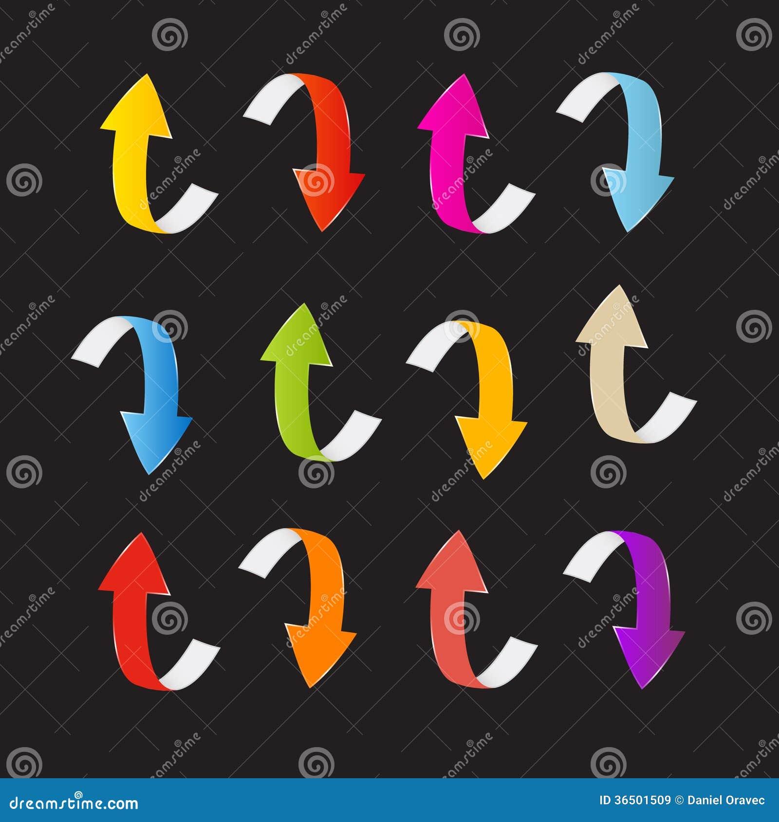 Flèches colorées de vecteur réglées