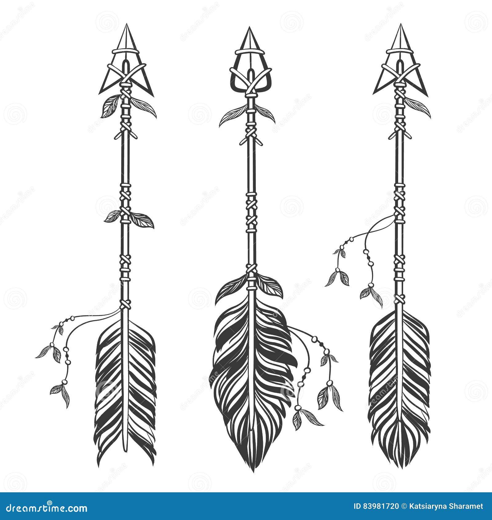Flèches ethniques réglées avec des plumes Style de Boho