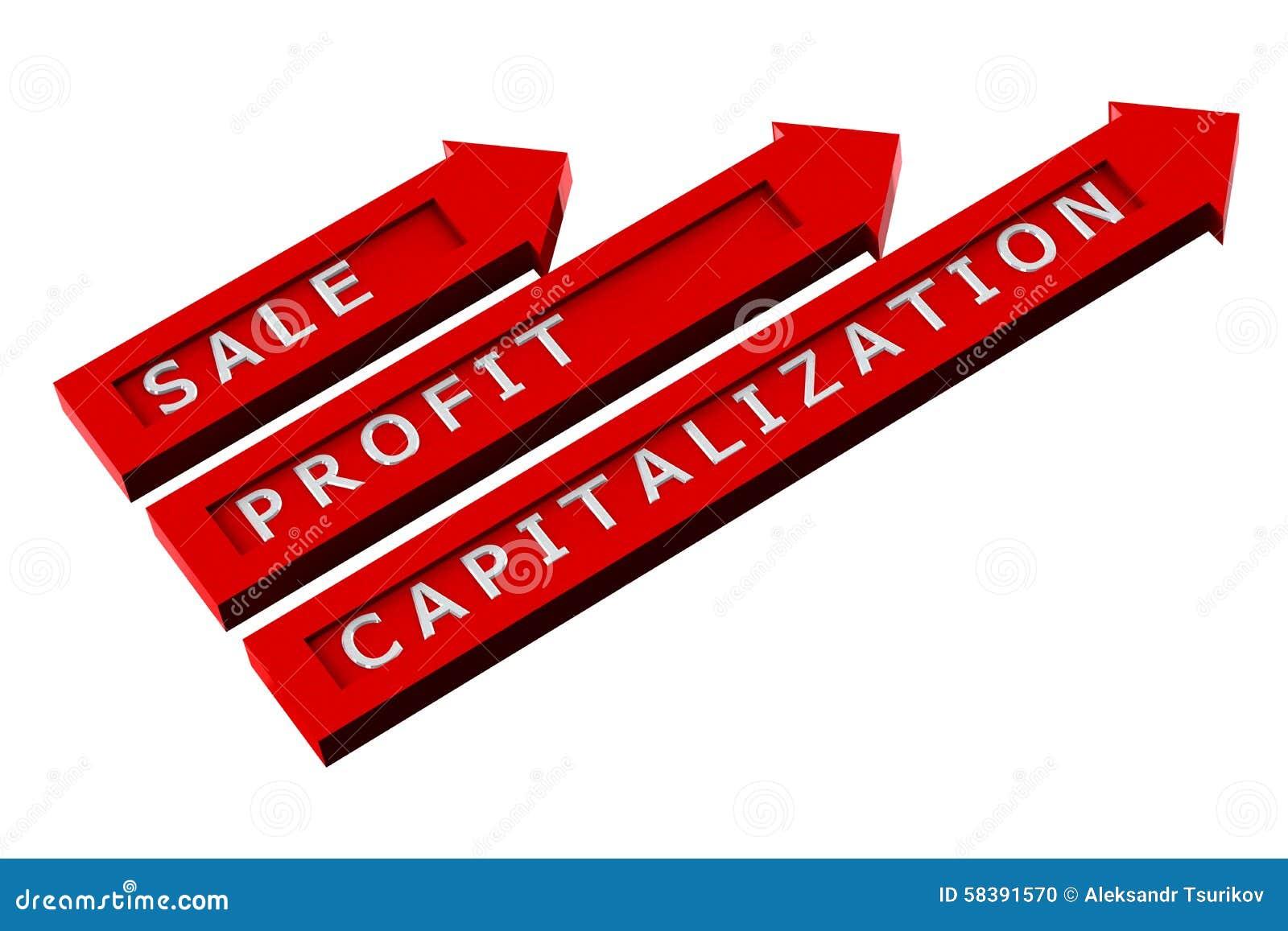 Flèches rouges avec des mots, vente, bénéfice, capitalisation